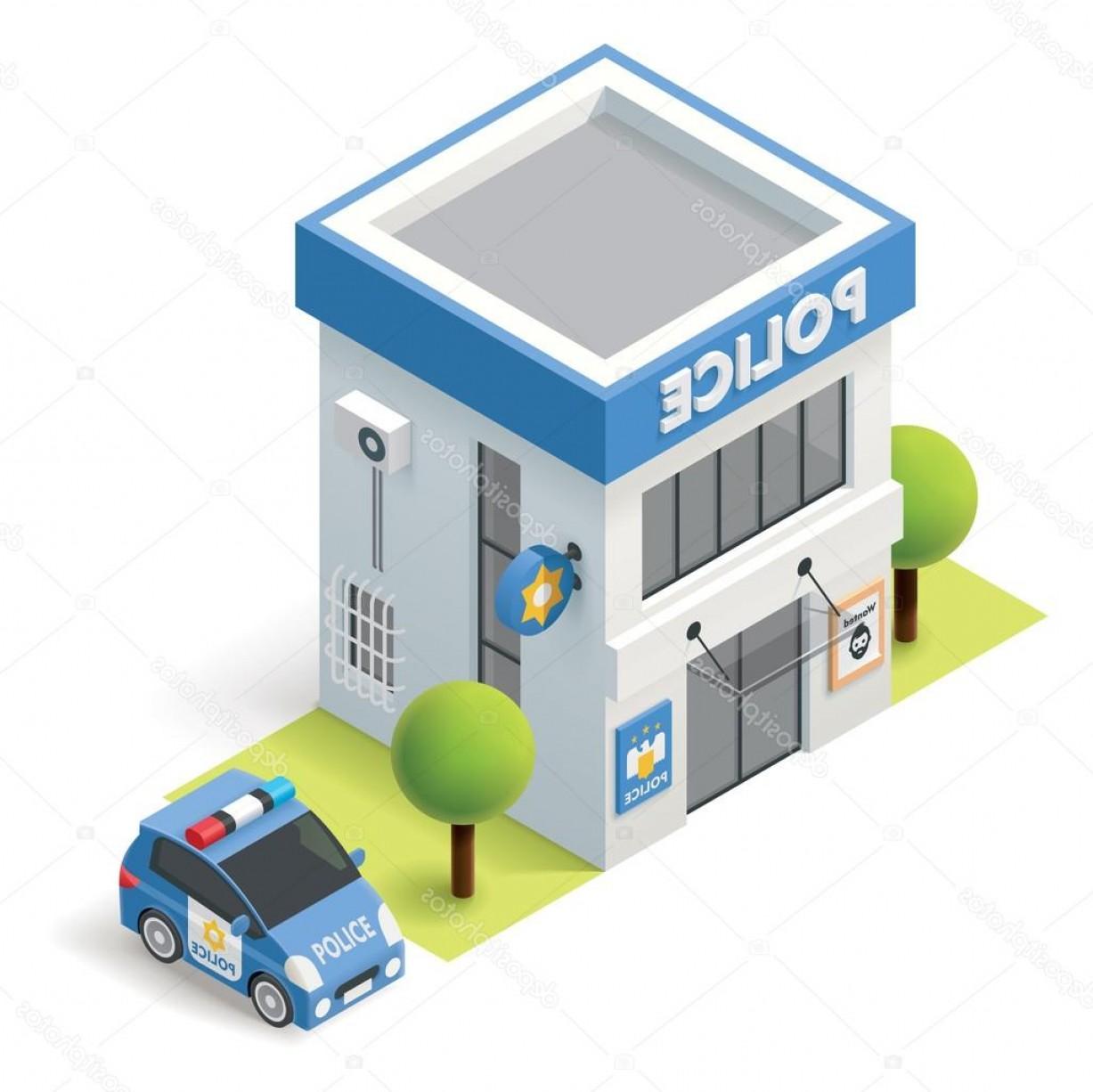 Vector Police Department: Stock Illustration Vector Isometric Police Department