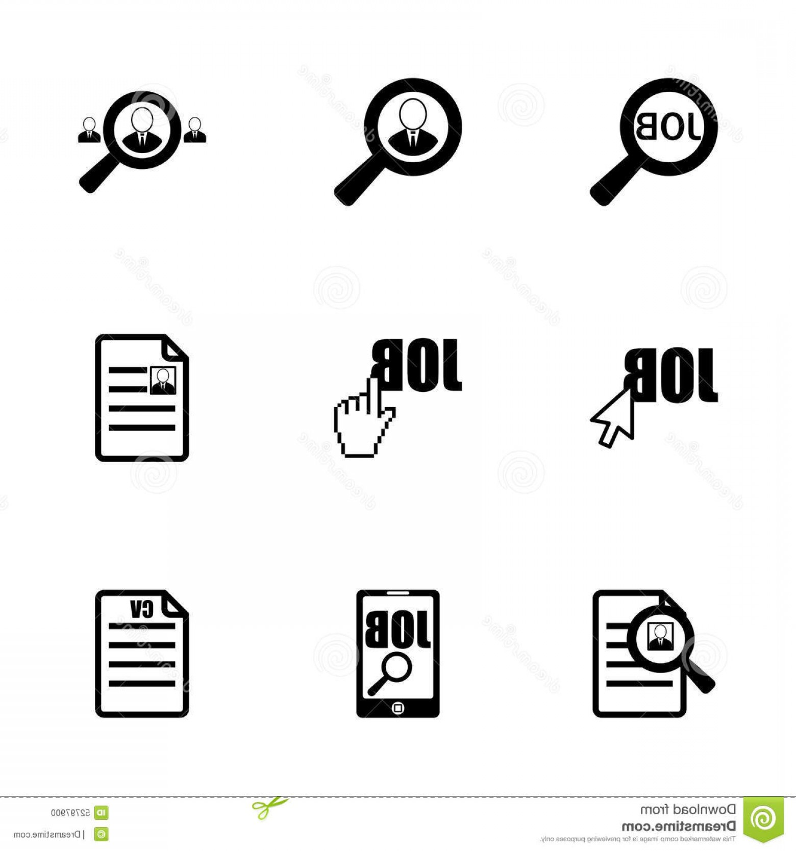 Vector Job Opportunities: Stock Illustration Vector Job Search Icon Set White Background Image