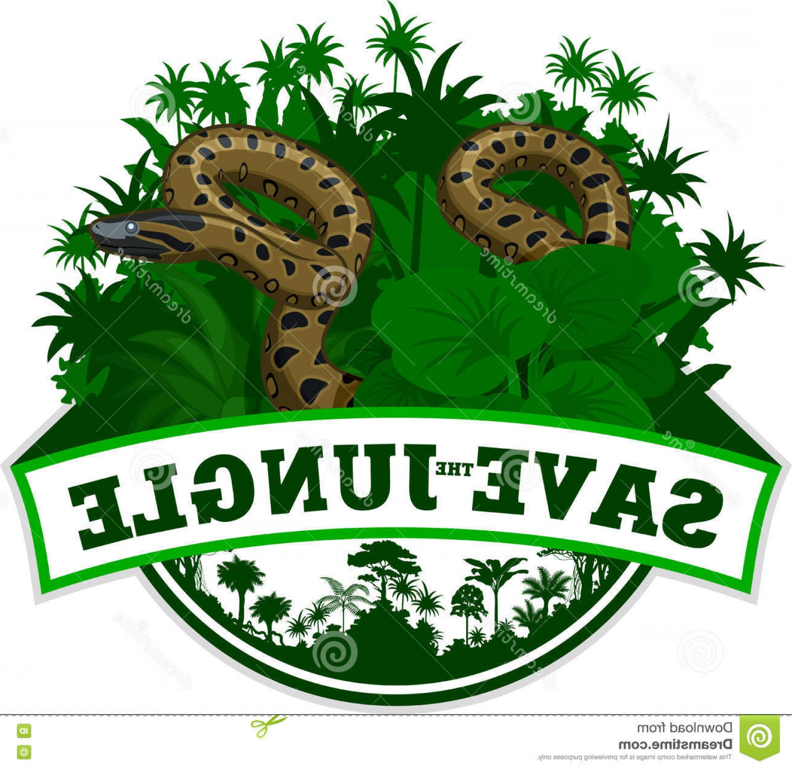 Vector Rainforest Anaconda: Stock Illustration Vector Jungle Emblem Anaconda Illustration Image