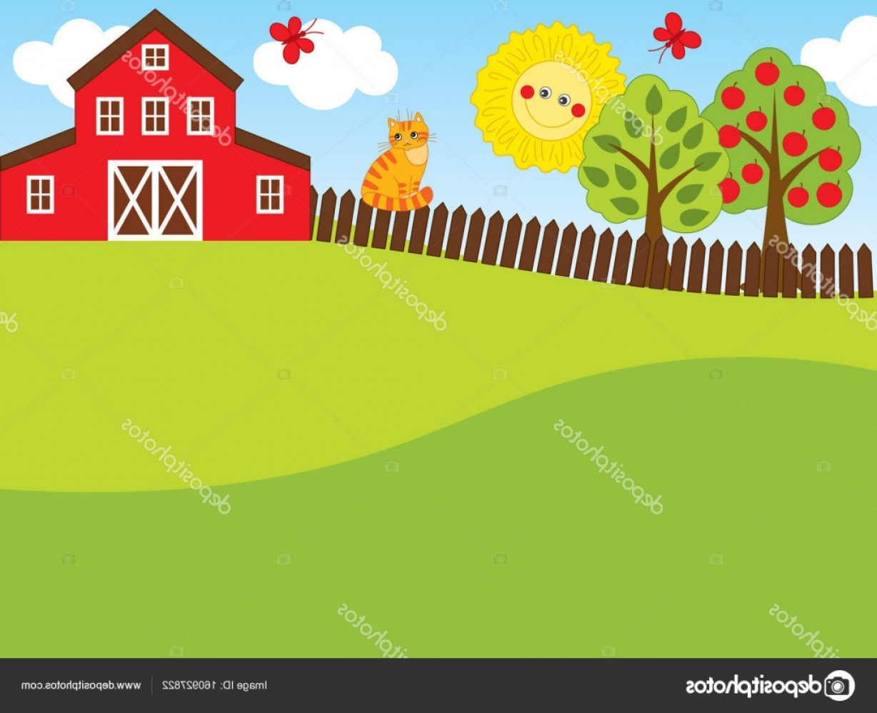Farm Vector Illustration: Stock Illustration Vector Landscape Farm Farm Vector