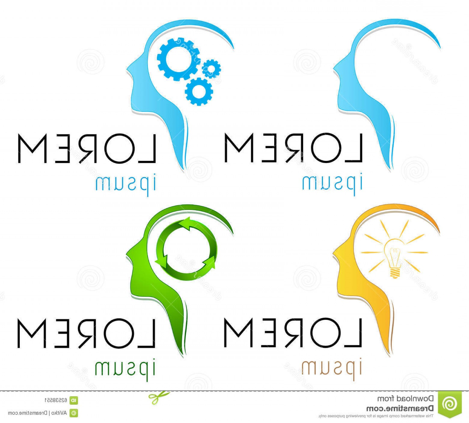 Wenzel Coaching Logo Vector: Stock Illustration Vector Logo Template Set Human Mind Head Logotype Ai Good Robotics Coaching Service Medicine Image