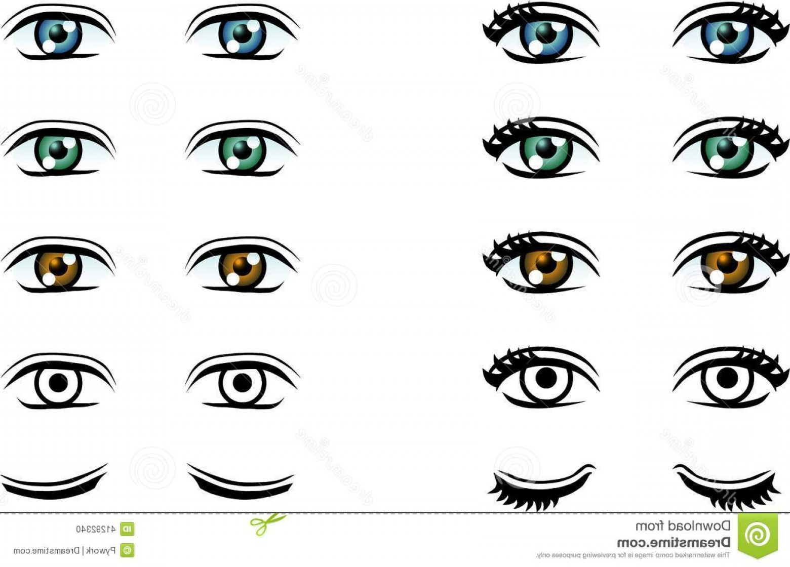 Male Eyes Vector Graphic: Stock Illustration Vector Man Woman Eyes Different Color Illustration Image