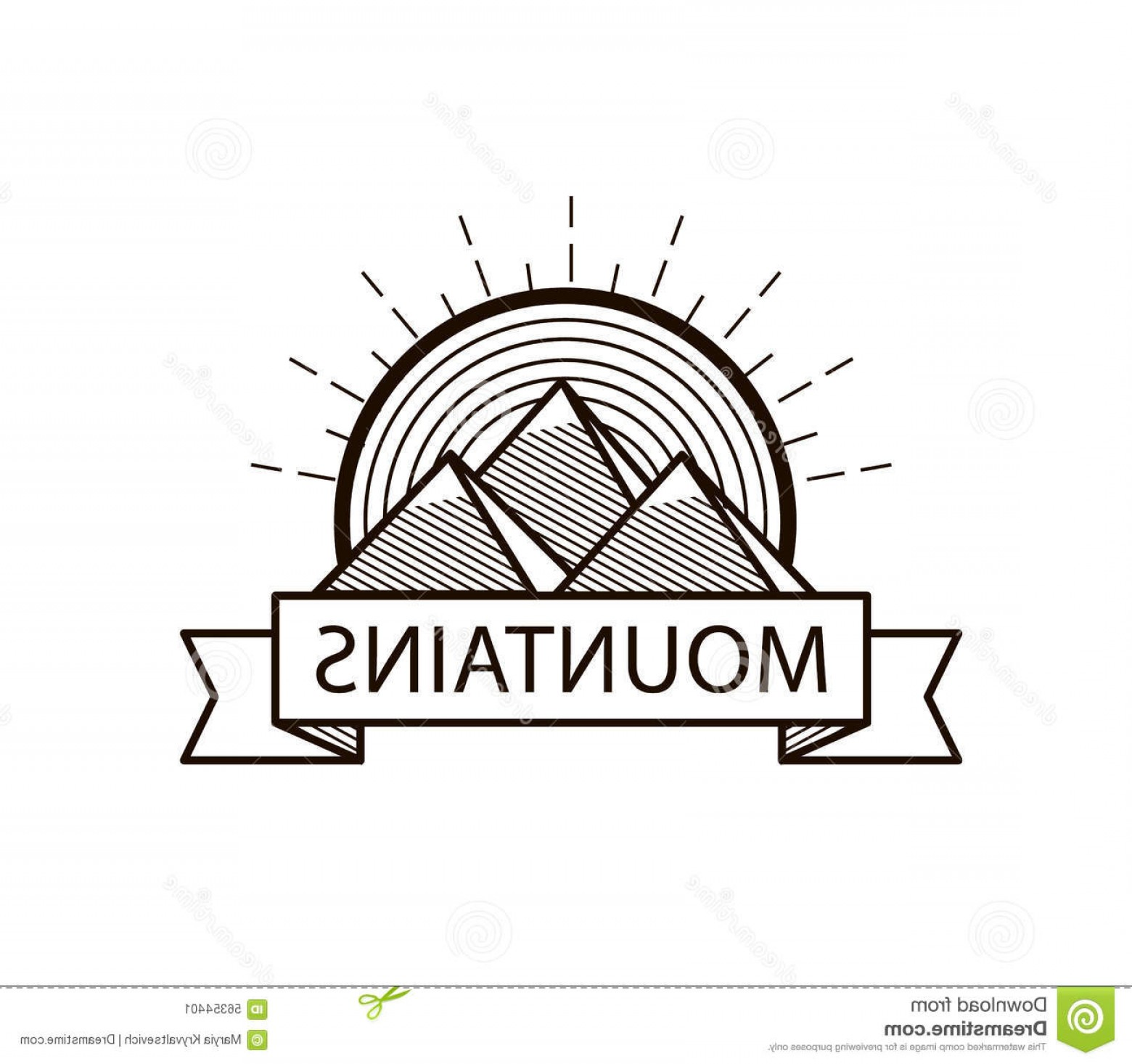 Hipster Logo Vectors Mountain: Stock Illustration Vector Mountains Line Hipster Logo Icon Badge Black White Image