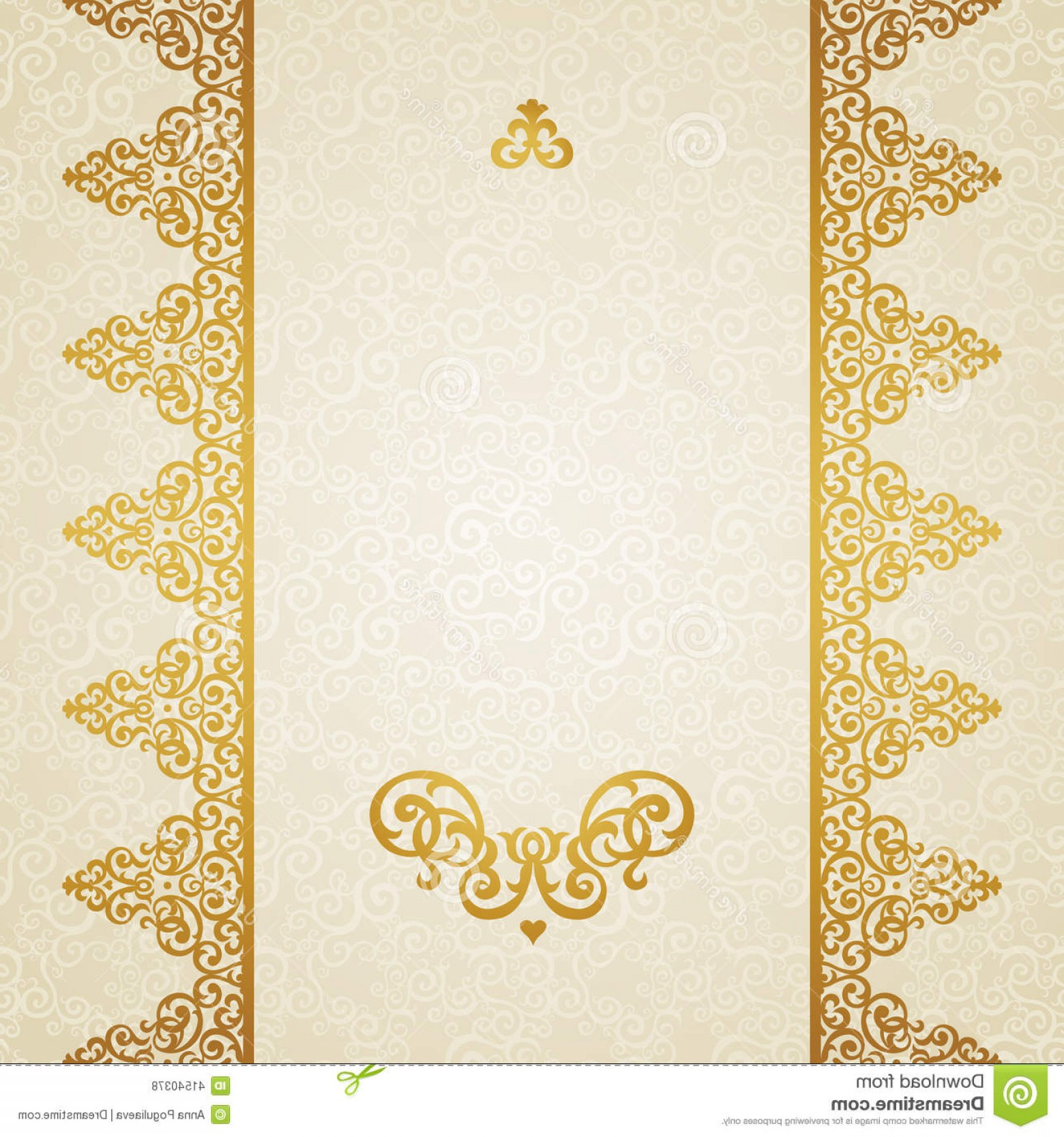 Victorian Style Frame Vector: Stock Illustration Vector Ornate Border Victorian Style Golden Floral Element Design Place Text Ornamental Pattern Wedding Image