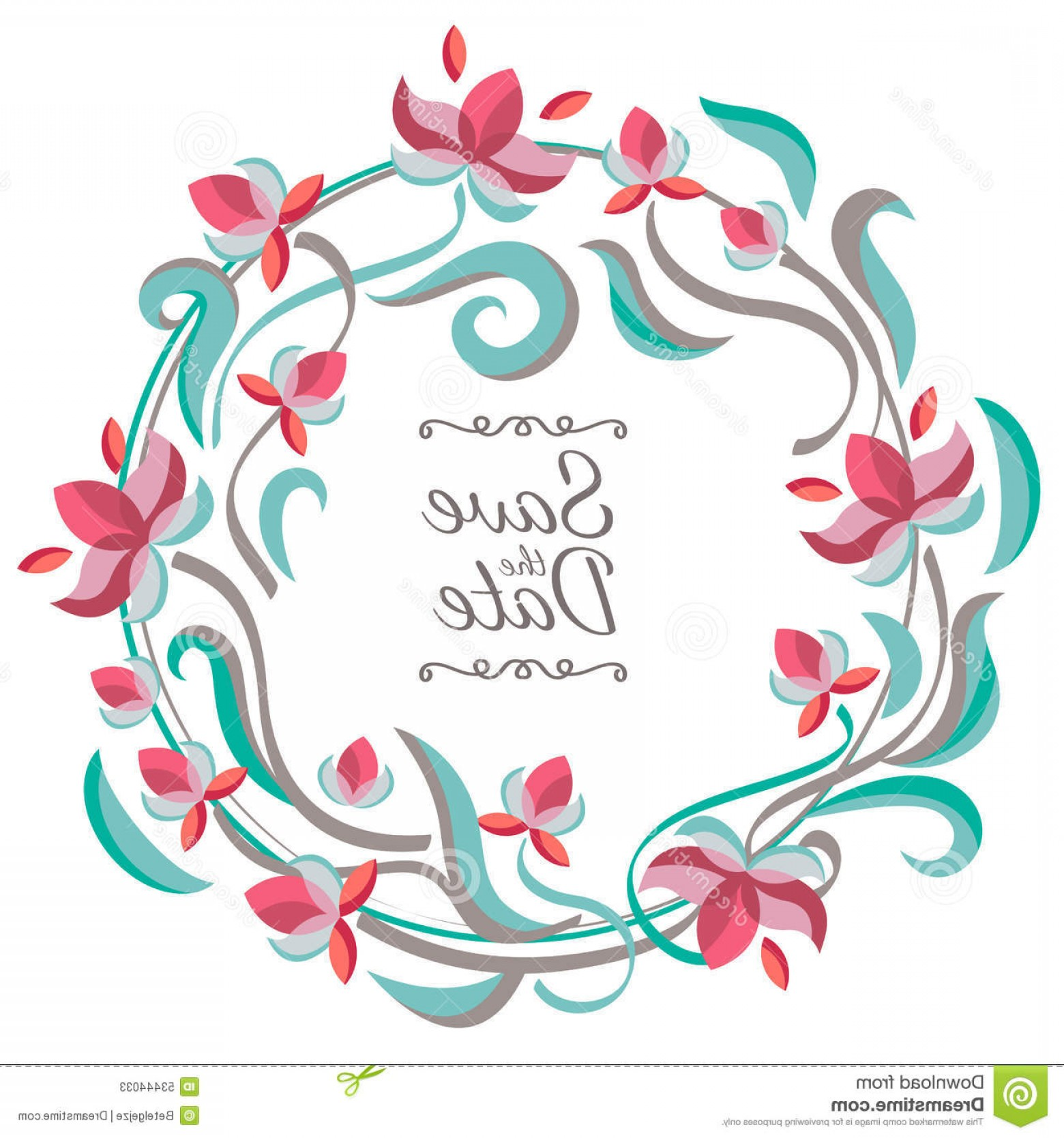 Birthday Card Vector Frame Designs: Stock Illustration Vector Pastel Color Floral Frame Flowers Wedding Birthday Save Date Greeting Card Nature Background Image