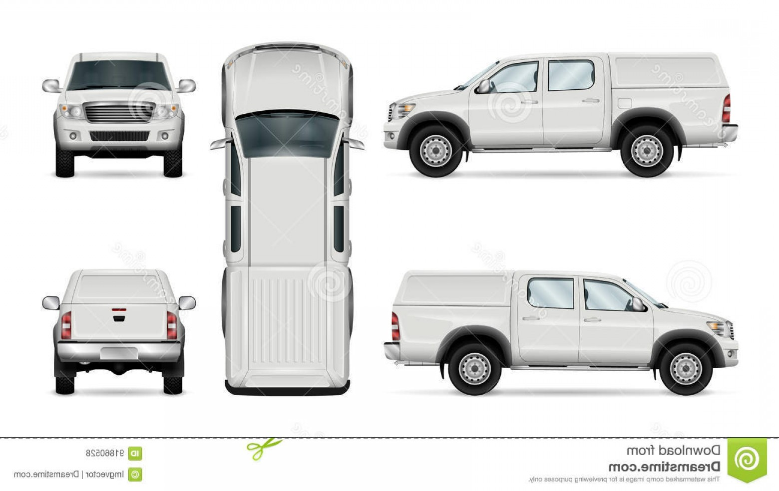 Vector Pick Up: Stock Illustration Vector Pickup Truck White Background Template Car Branding Advertising Car All Layers Groups Well Organized Image
