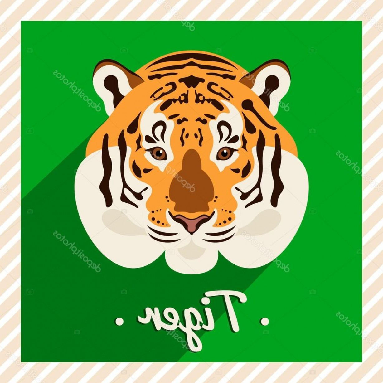 Green Tiger Vector: Stock Illustration Vector Portrait Of A Tiger
