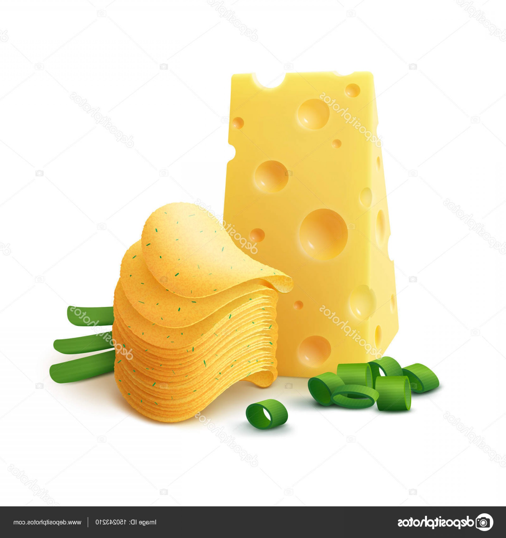 Chips Queso Vector: Stock Illustration Vector Potato Crispy Chips Stack