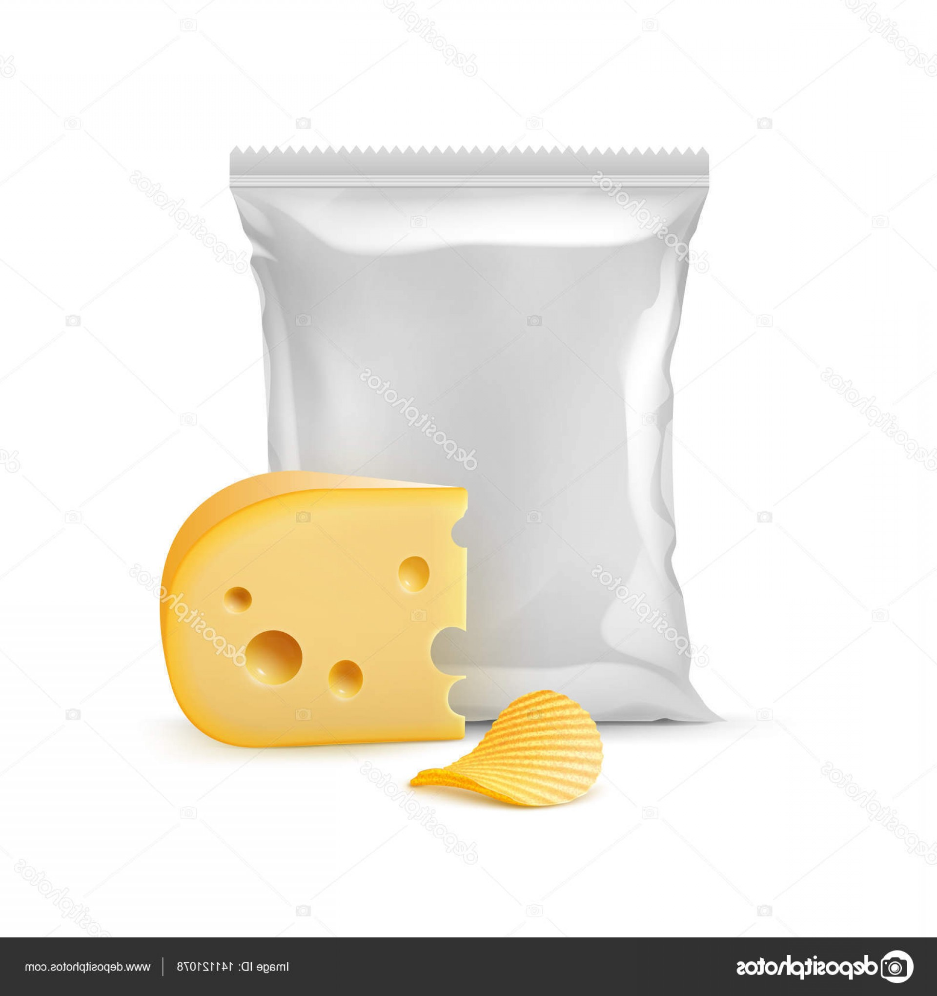 Chips Queso Vector: Stock Illustration Vector Potato Ripple Crispy Chips