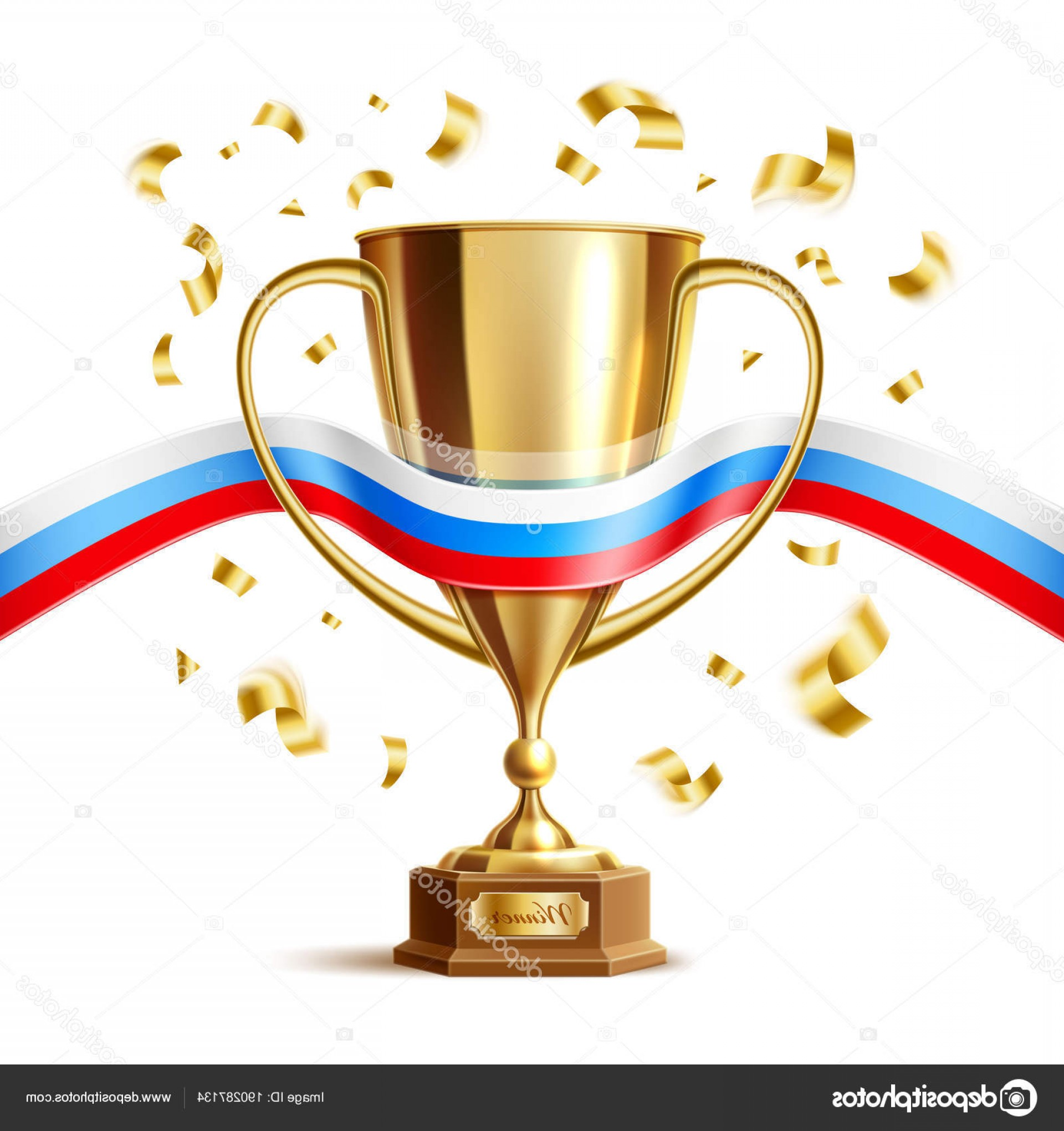 Gold Trophy Vector: Stock Illustration Vector Realistic Golden Trophy Cup