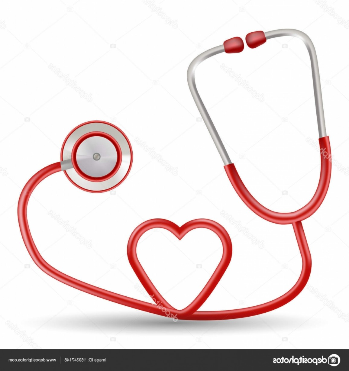 Heart Stethoscope With EKG Lines Vector: Stock Illustration Vector Red Stethoscope In Shape