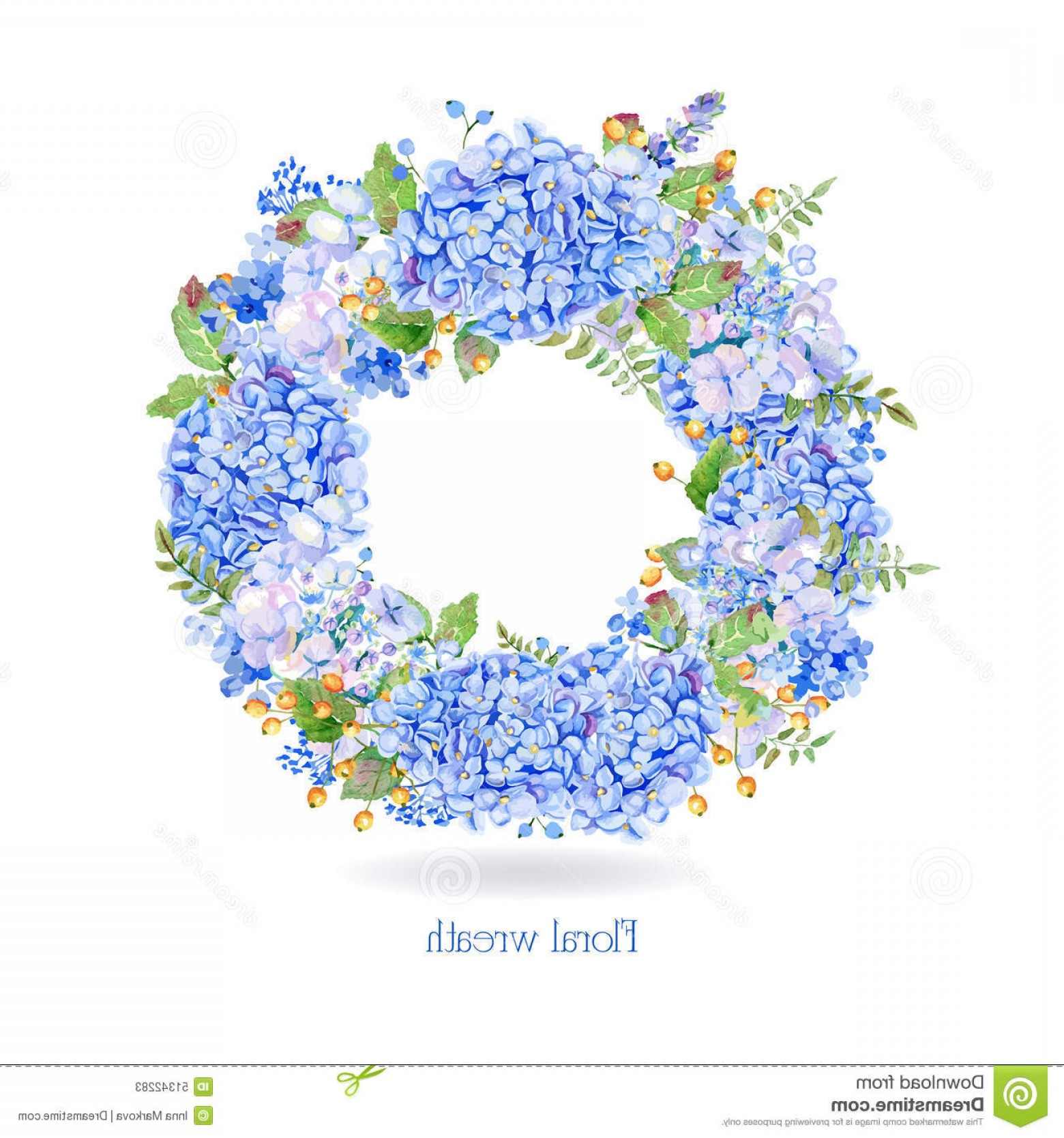 Vector Image Blue Hydrangeas: Stock Illustration Vector Round Frame Blue Watercolor Hydrangea Berries Illustration Wreath Flowers Can Be Used As Greeting Card Image