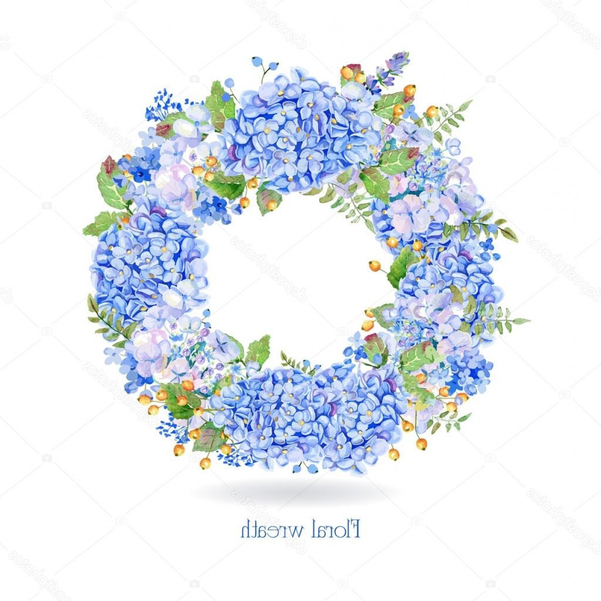 Hydrangea Vector Graphics: Stock Illustration Vector Round Frame Of Blue