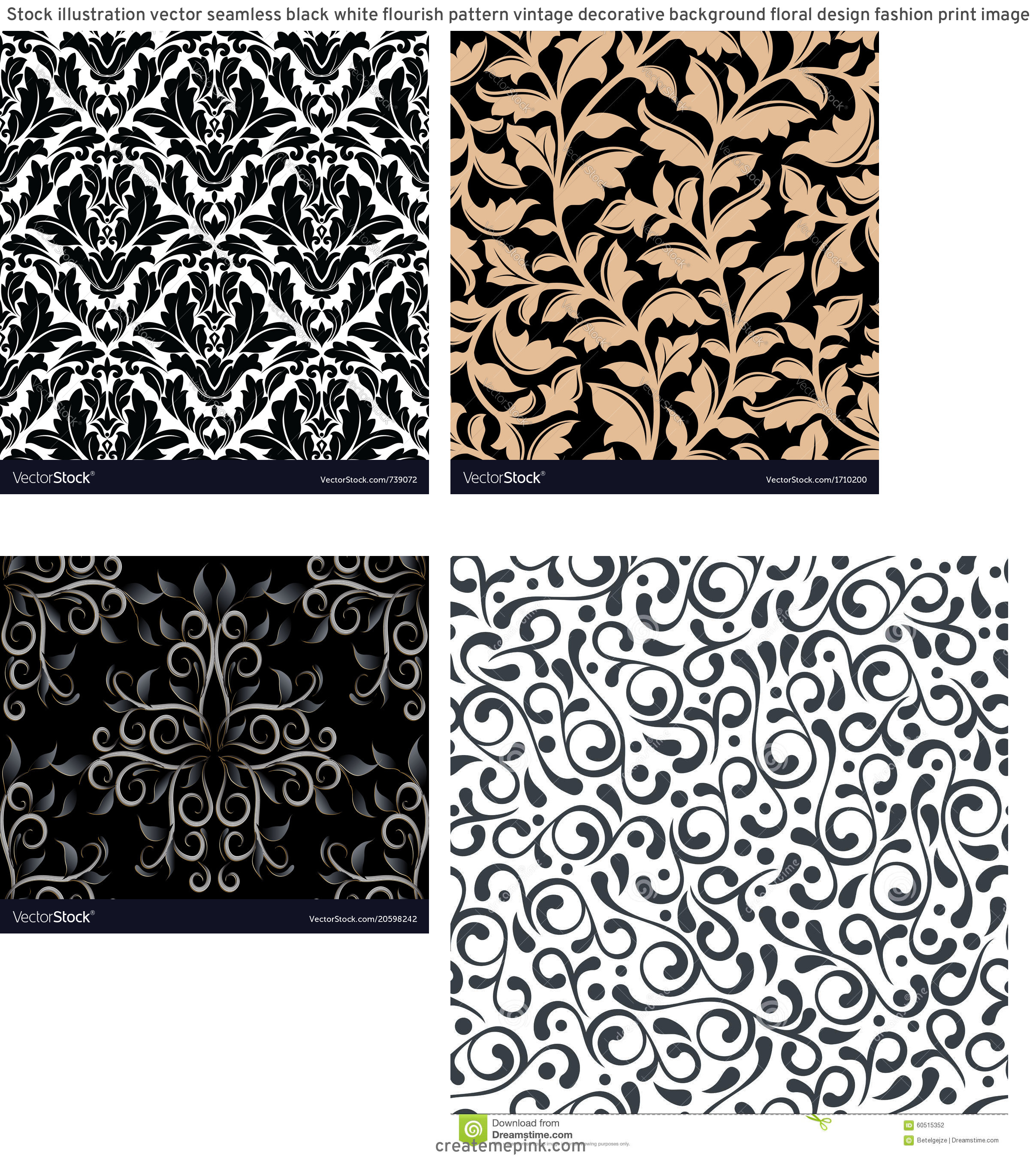 Flourish Vector Pattern: Stock Illustration Vector Seamless Black White Flourish Pattern Vintage Decorative Background Floral Design Fashion Print Image