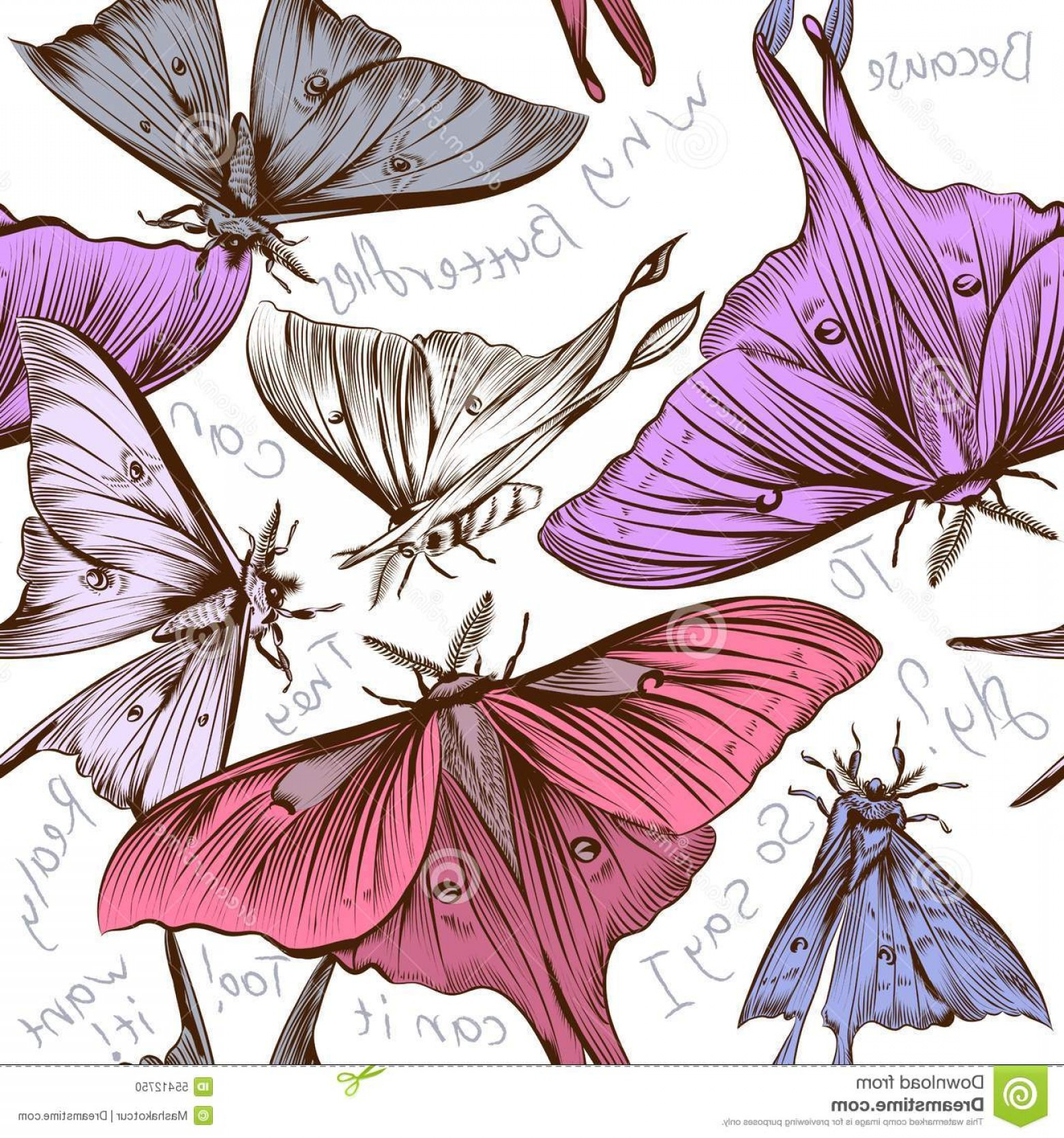 Purple Butterfly Wallpaper Vector: Stock Illustration Vector Seamless Wallpaper Pattern Swirl Butterflies Des Fashion Pink Purple Why Can To Fly Image