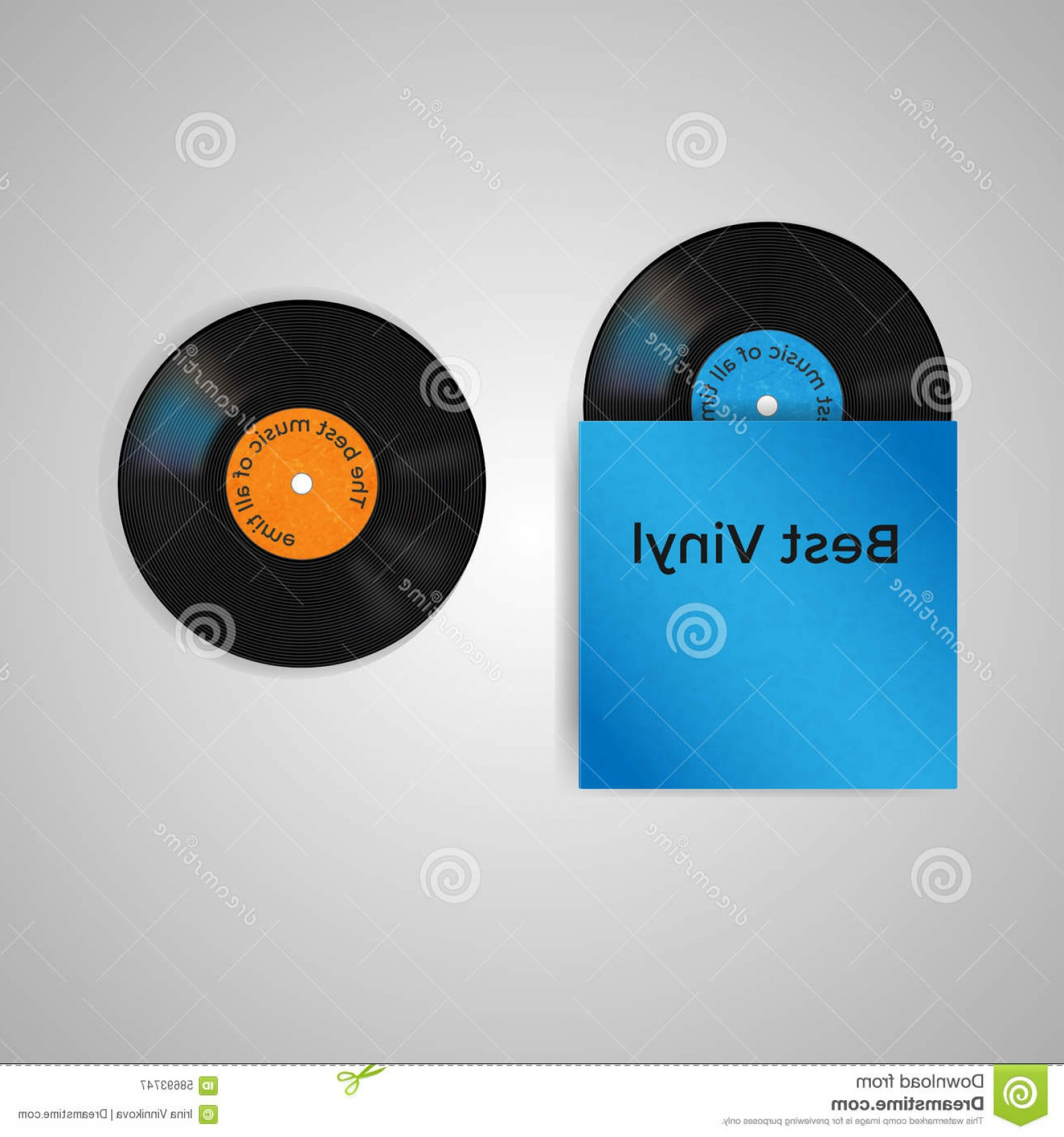Vector Vinyl Rolls: Stock Illustration Vector Set Blue Vinyl Cover Two Vinyl Records Blue Orange Label Image