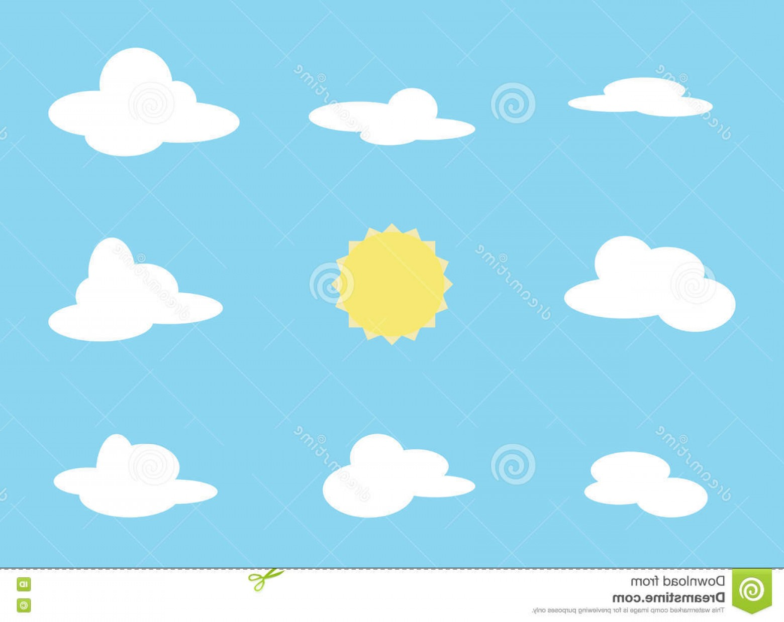 Blue Background Vector Cartoon Sun: Stock Illustration Vector Set Cloud Object Sun Collection Cartoon Items Blue Background Different Shapes Clouds Image