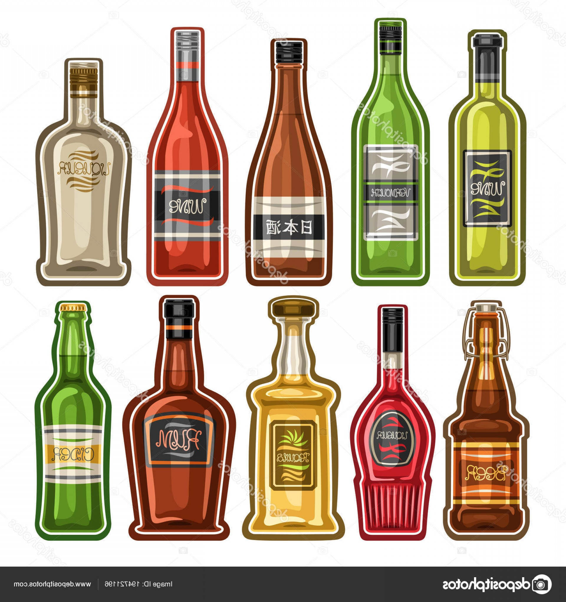 Booze Bottle Vector: Stock Illustration Vector Set Different Bottles Full