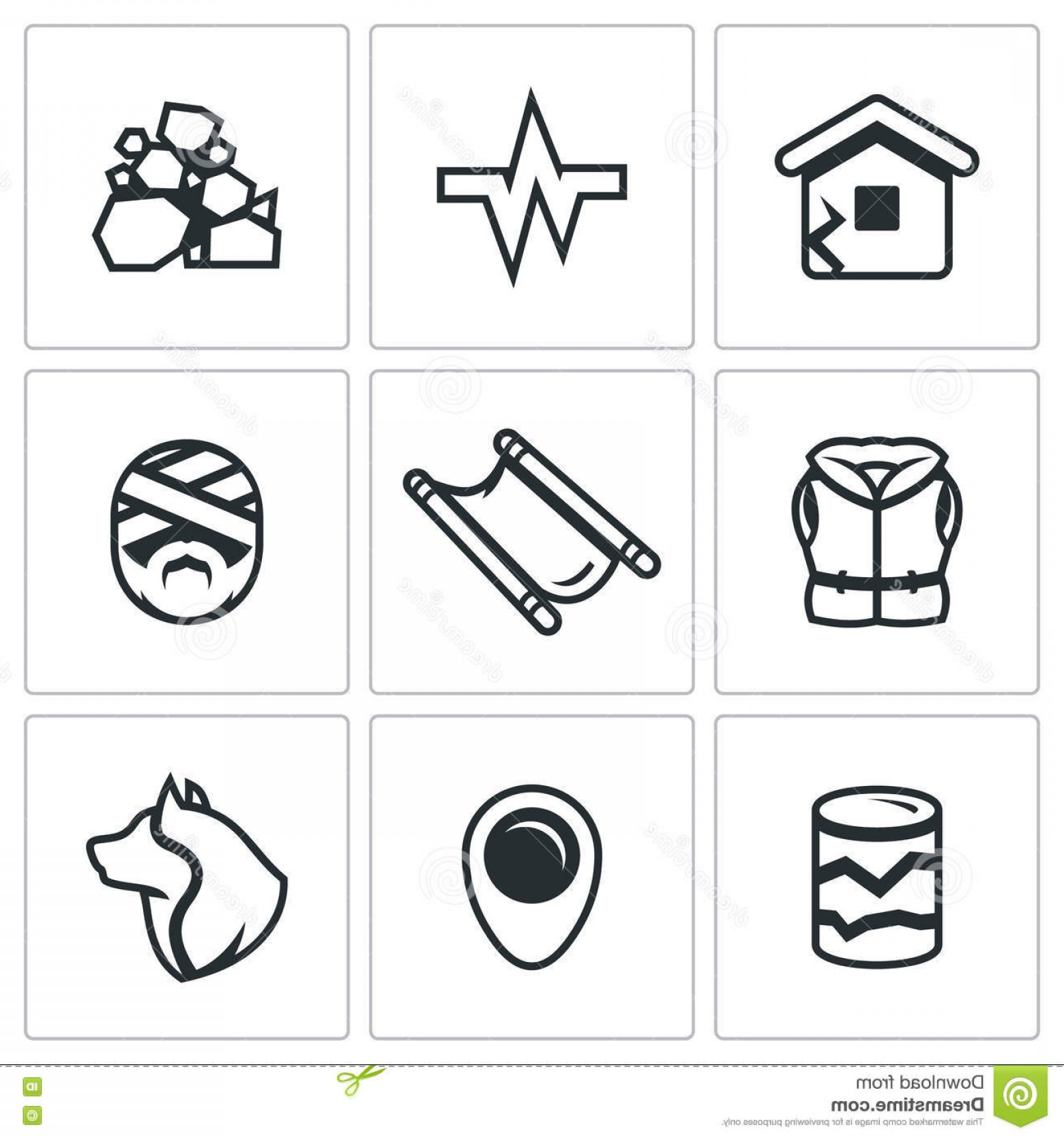 Earthquake Rescue Vector: Stock Illustration Vector Set Earthquake Icons Operational Rescue Service Building Collapse Image