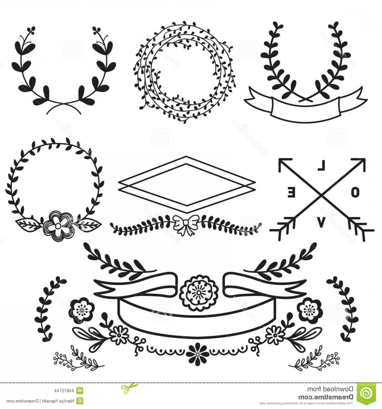 Flower Elements Vector: Stock Illustration Vector Set Floral Elements Banners Vintage Nature Flower Image