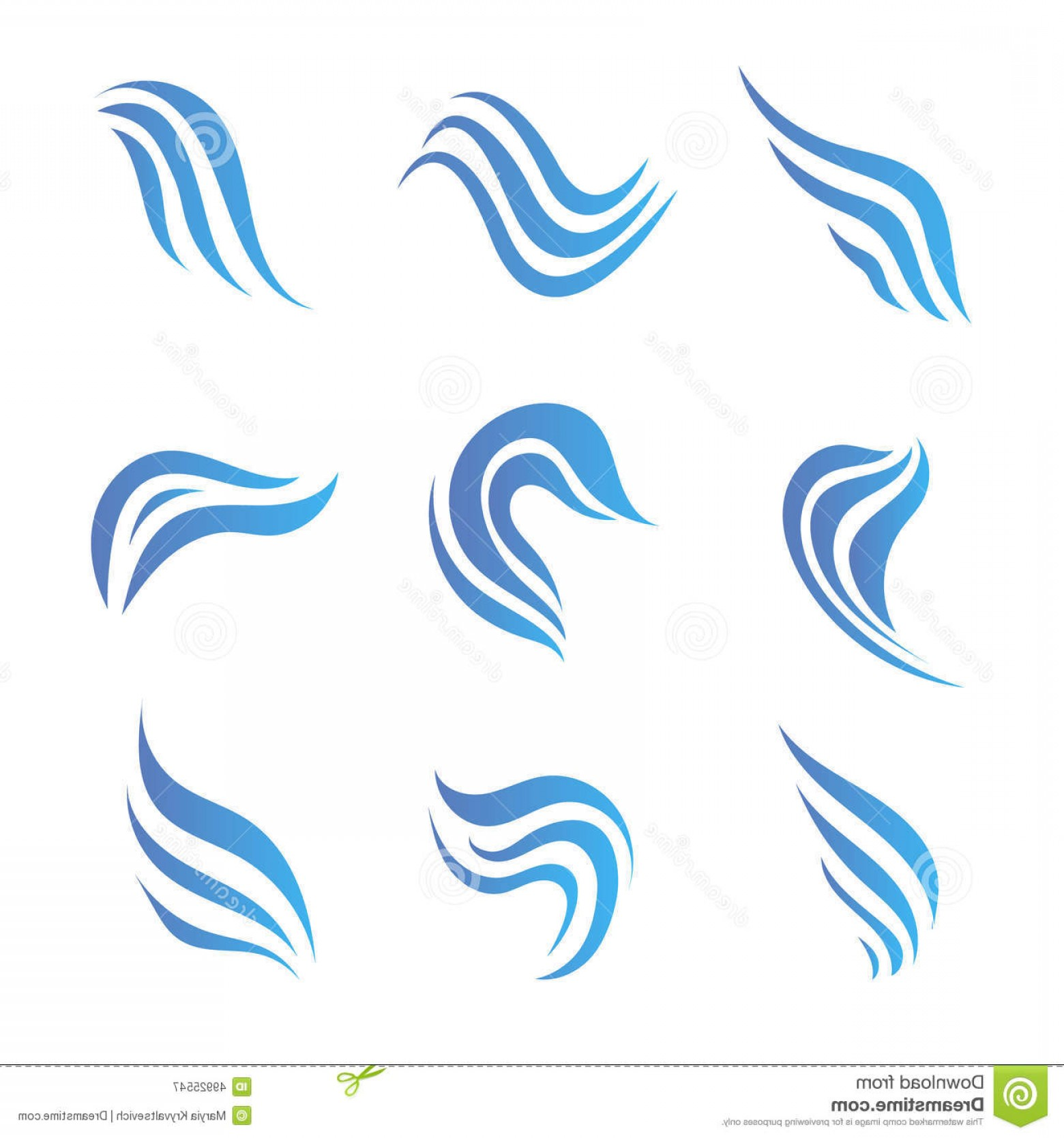 Water Flow Vector: Stock Illustration Vector Set Flow Water Blue Icons Logos Isolated Image