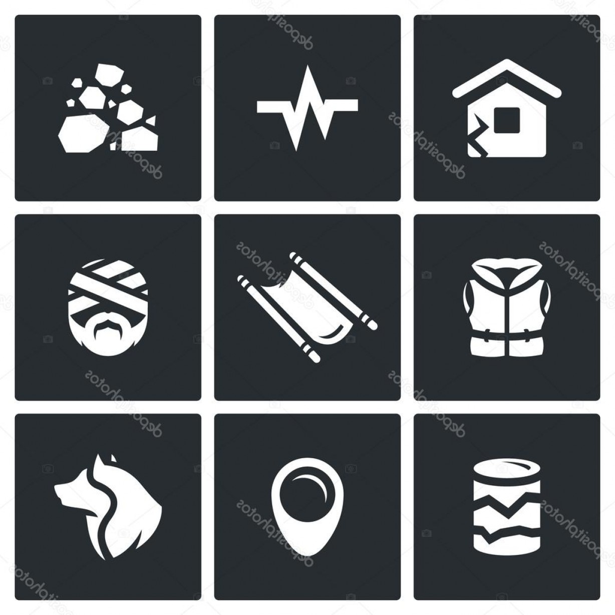 Earthquake Rescue Vector: Stock Illustration Vector Set Of Earthquake Icons