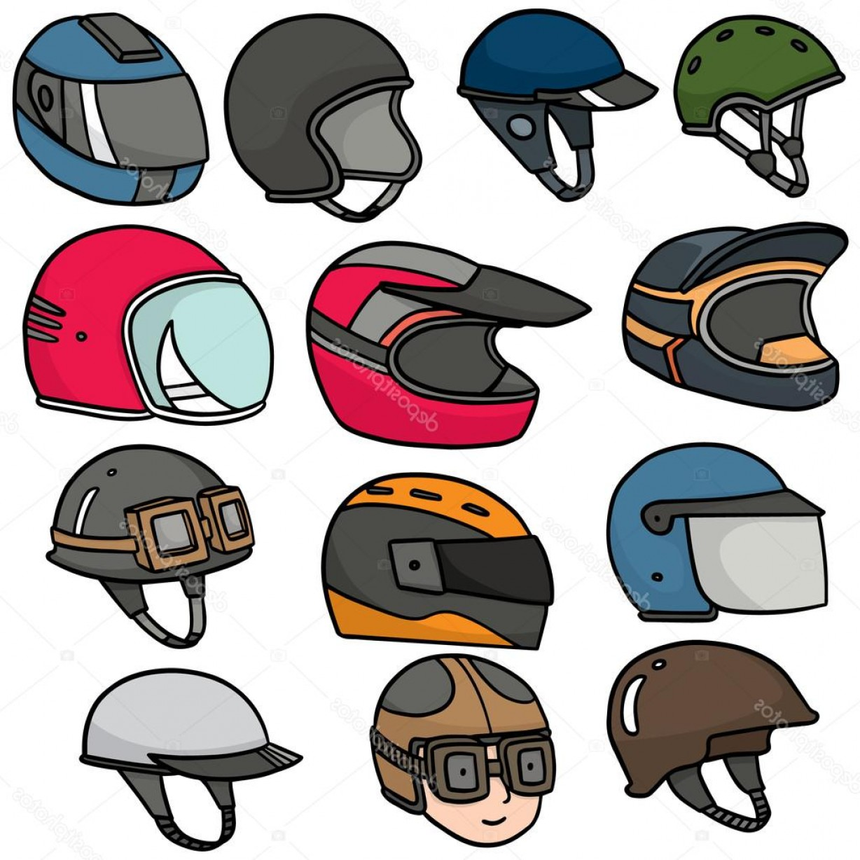 Motorcycle Helmet Vector Art: Stock Illustration Vector Set Of Motorcycle Helmet