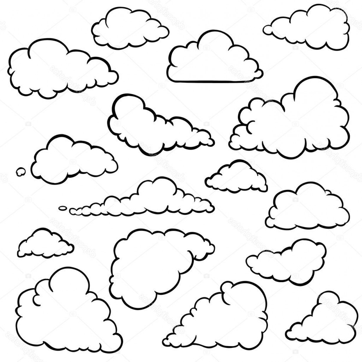 Cloud Outline Vector Black And White: Stock Illustration Vector Set Of Outline Clouds