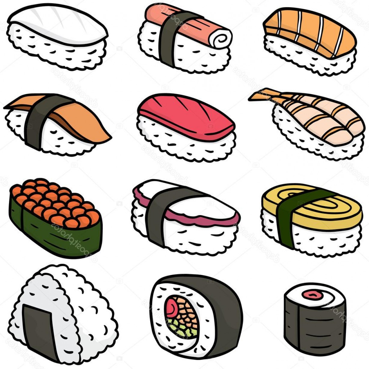 Sushi Vector Art: Stock Illustration Vector Set Of Sushi