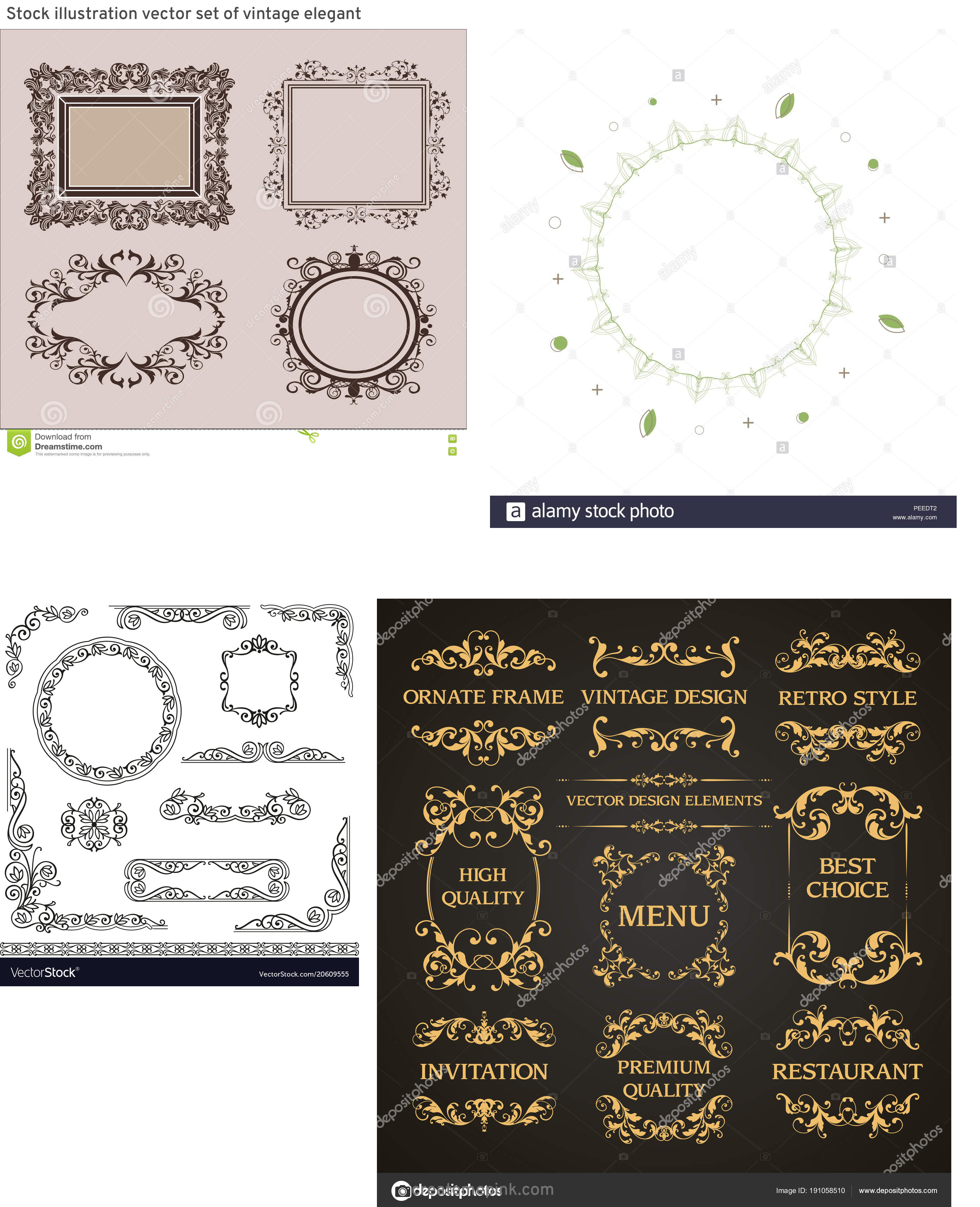 Elements Of Vector Vintage Decorative Frame: Stock Illustration Vector Set Of Vintage Elegant