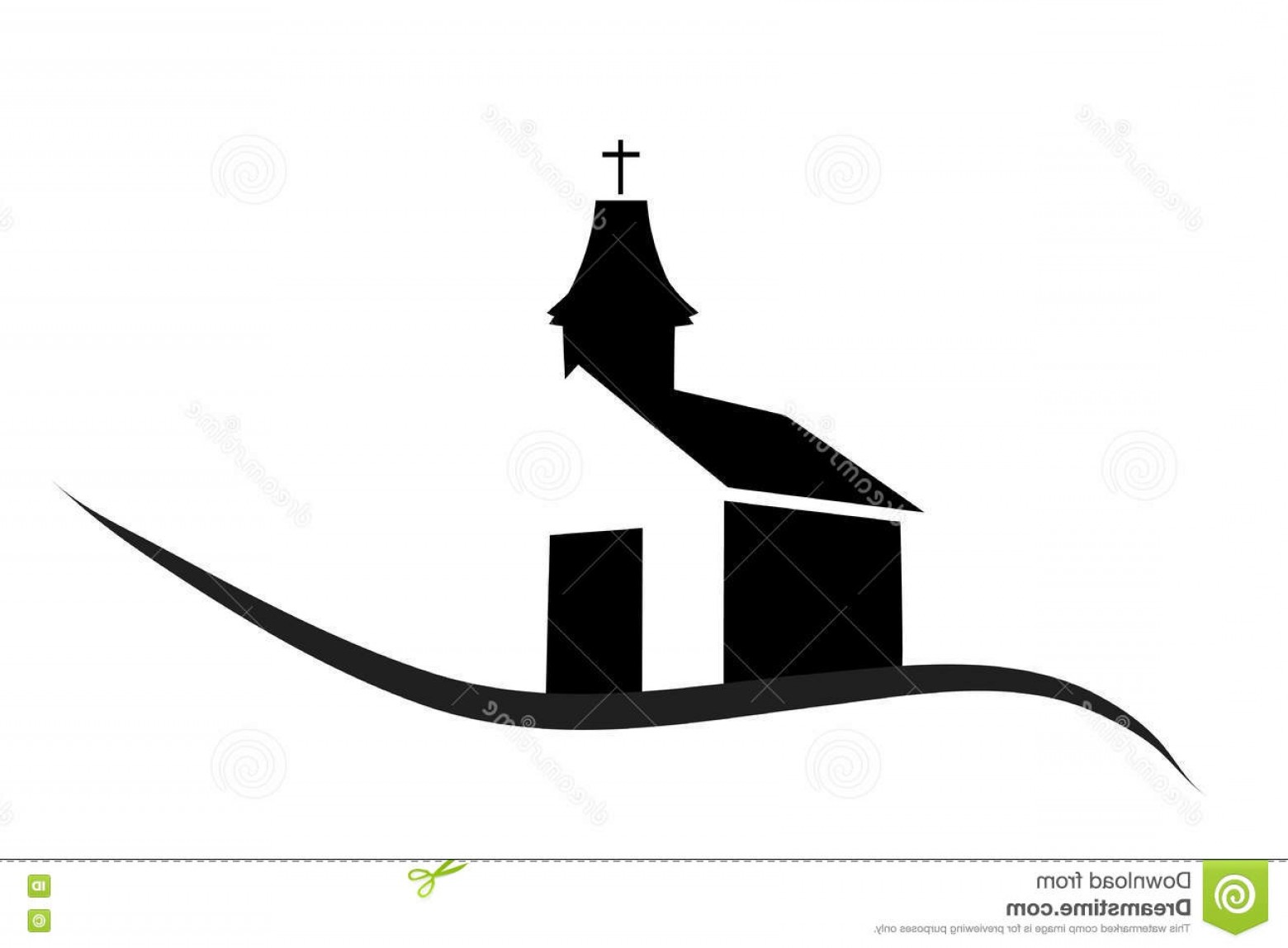 Church Silhouette Vector: Stock Illustration Vector Silhouette Church White Background Image