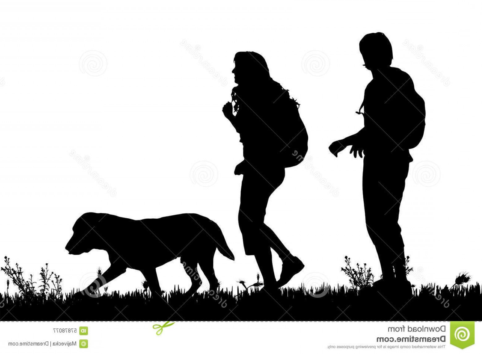 Vector Silhouette Dog Walk: Stock Illustration Vector Silhouette Couple Dog Walk Image