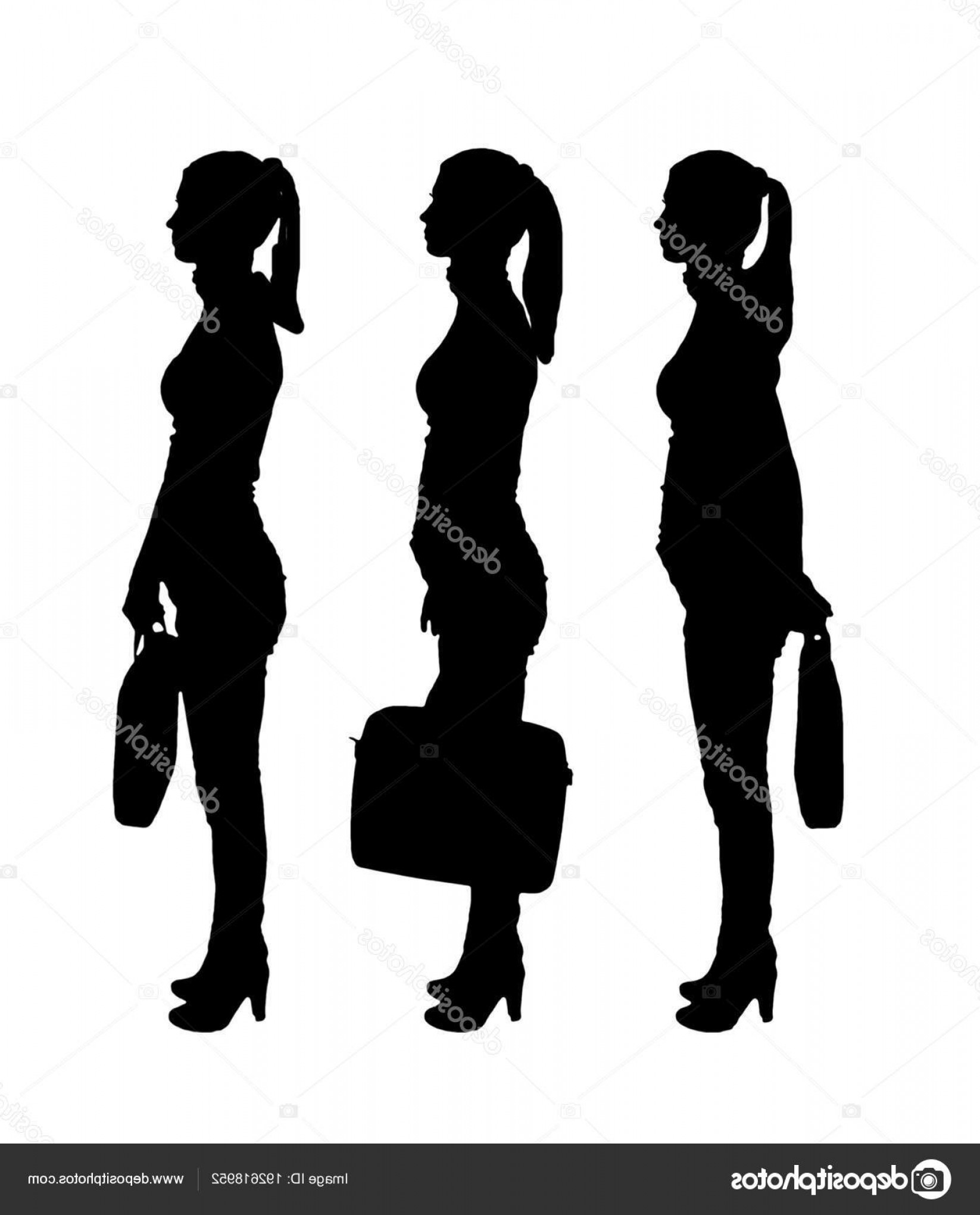 Soldier Woman Profile Vector: Stock Illustration Vector Silhouette Of Three Business