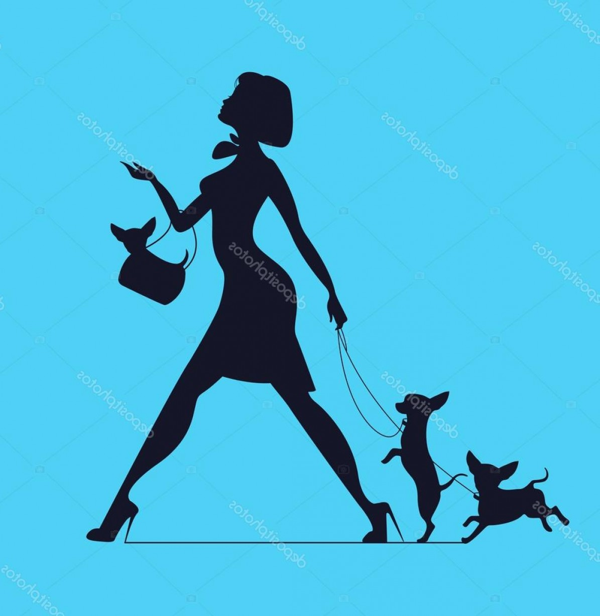 Vector Silhouette Dog Walk: Stock Illustration Vector Silhouette Of Woman With
