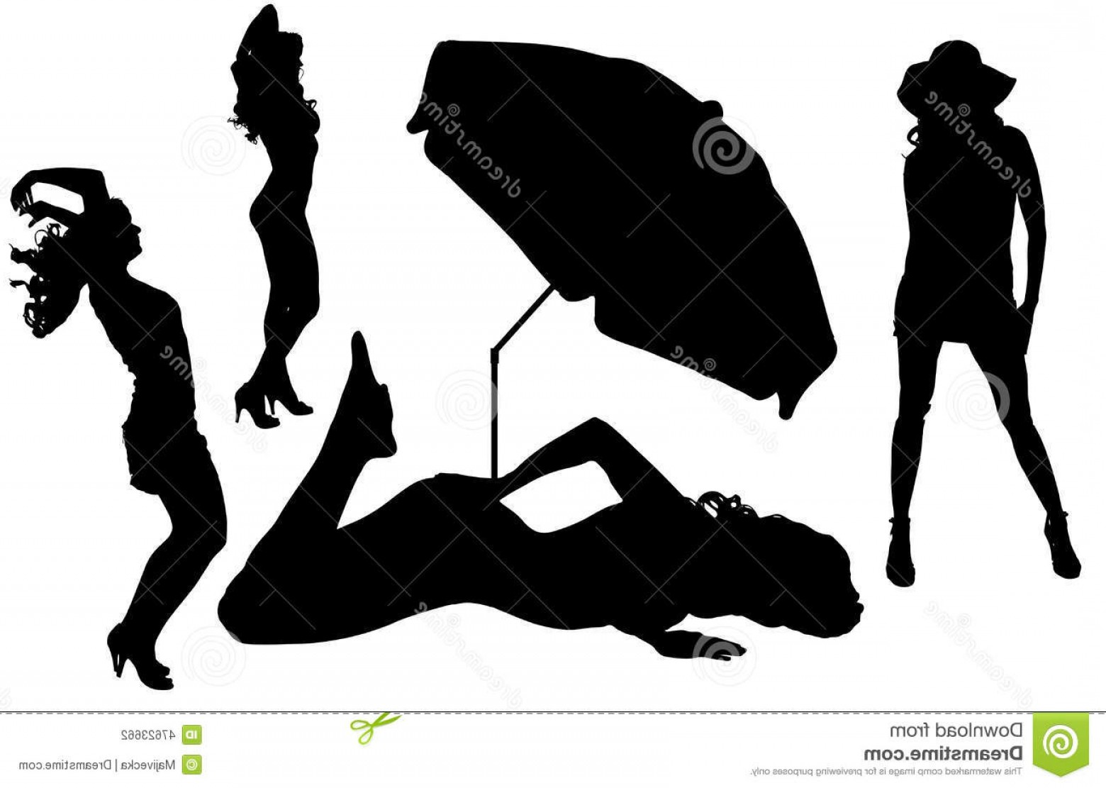 Color Guard Silhouette Vector: Stock Illustration Vector Silhouettes Women Beach White Background Image