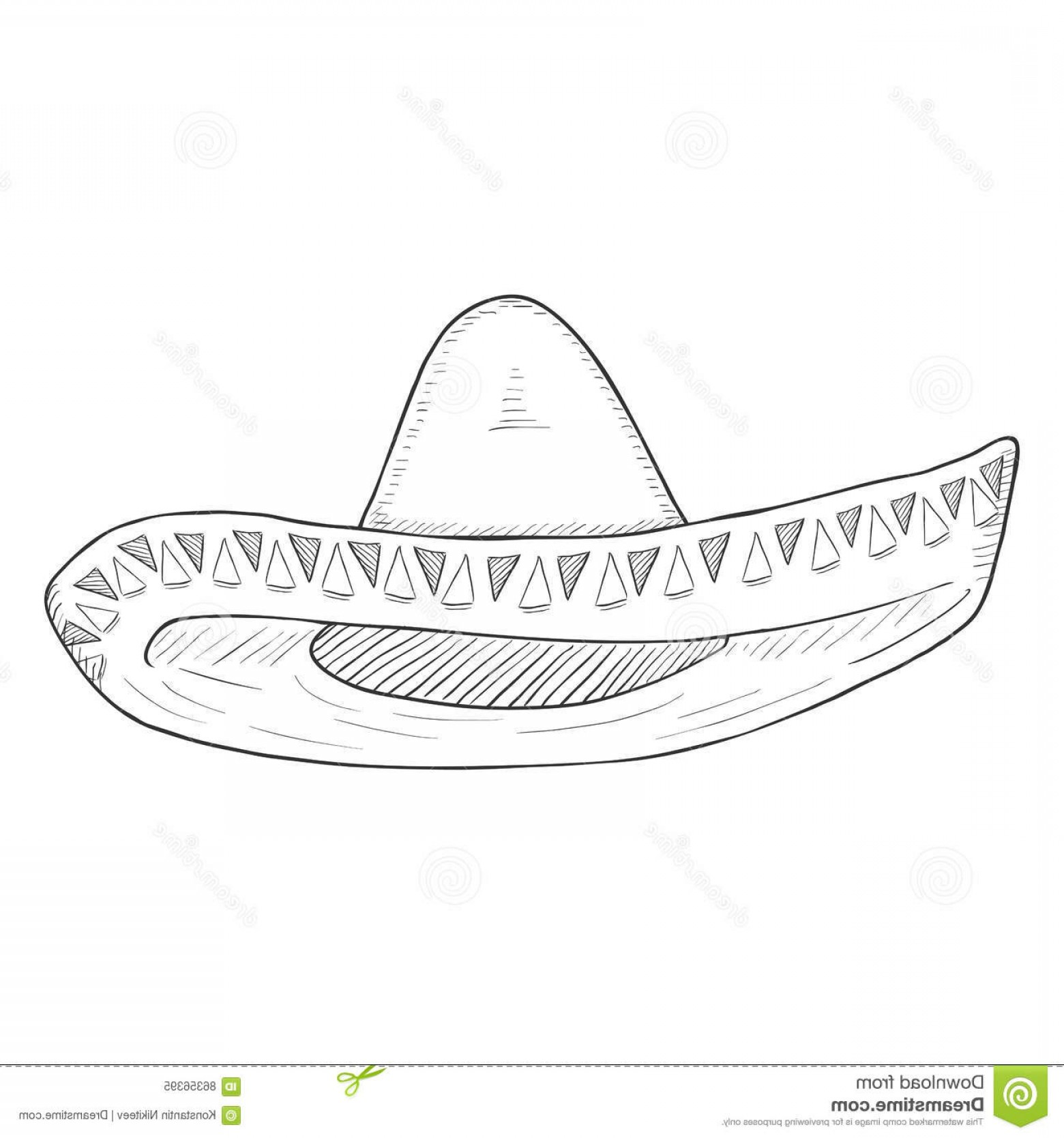 Sombrero Vector Outline: Stock Illustration Vector Single Sketch Traditional Mexican Hat Sombrero White Background Image