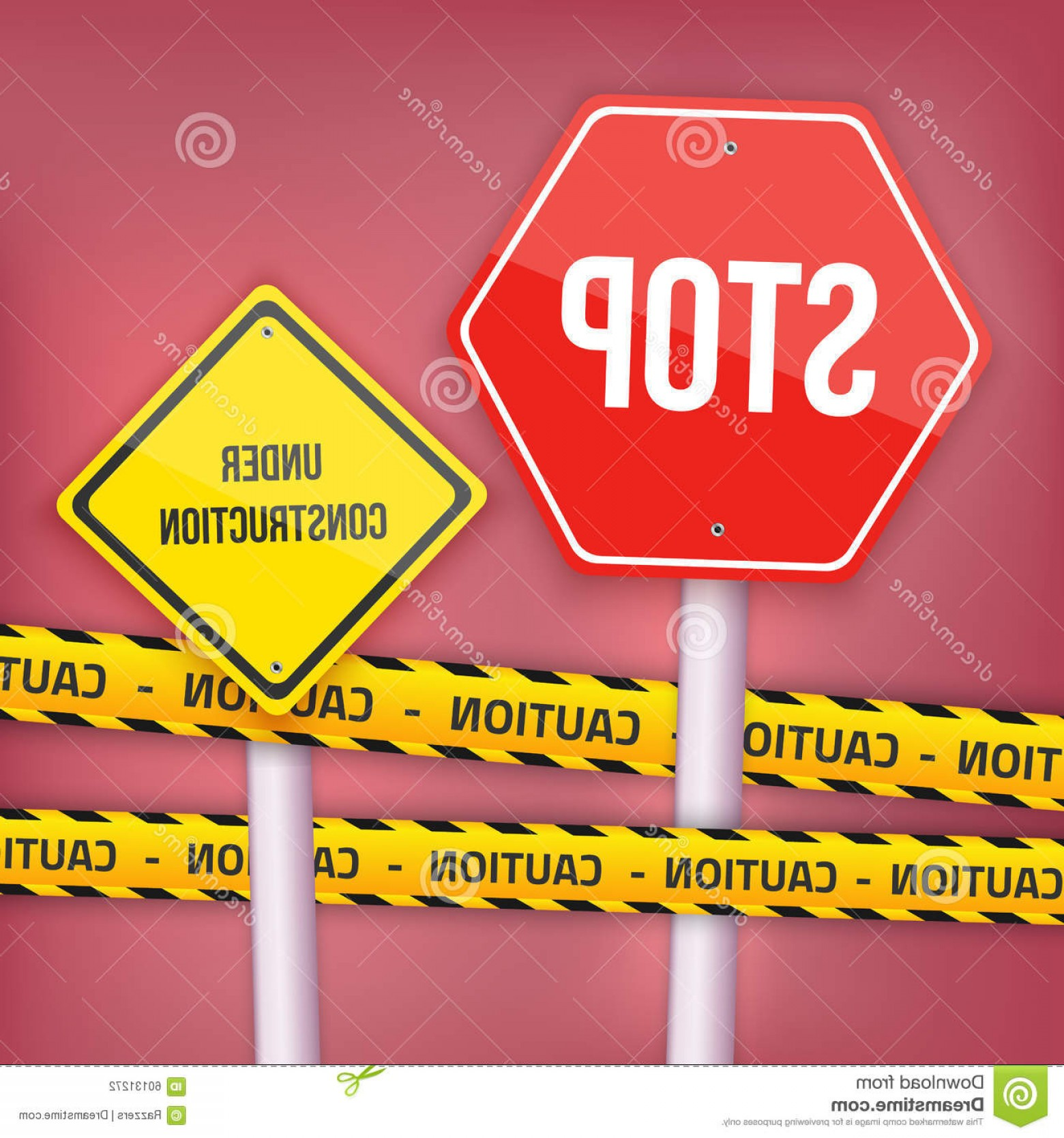 Vector Under Construction Template: Stock Illustration Vector Stop Sign Website Under Construction Template Yellow Illustration Caution Police Line Image
