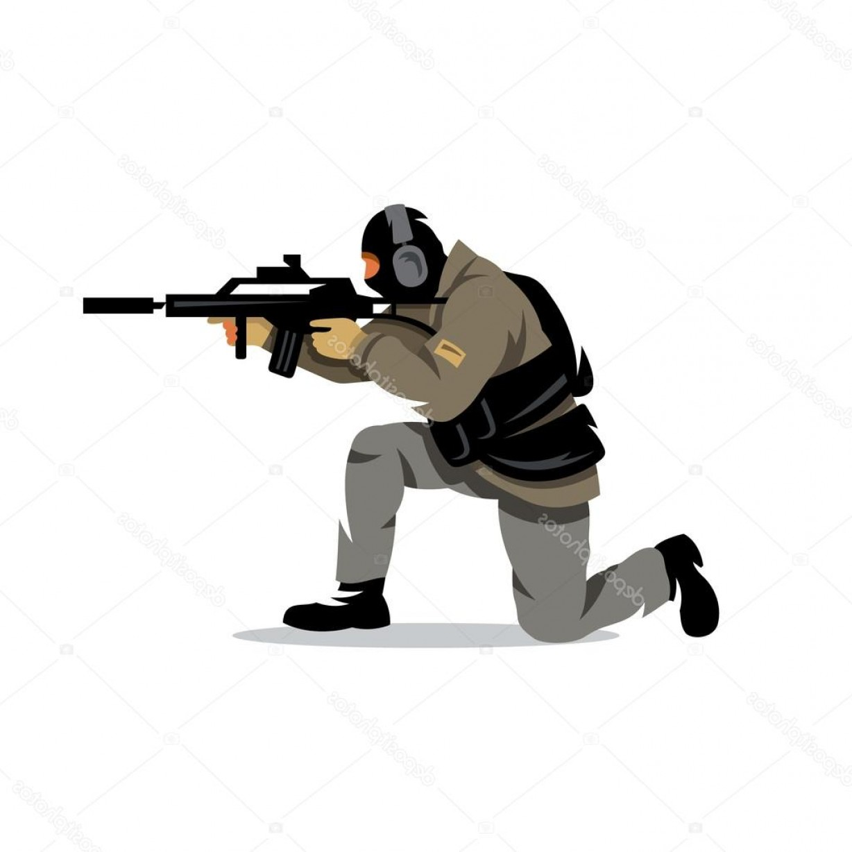 Tactical Vector: Stock Illustration Vector Tactical Shooting Cartoon Illustration