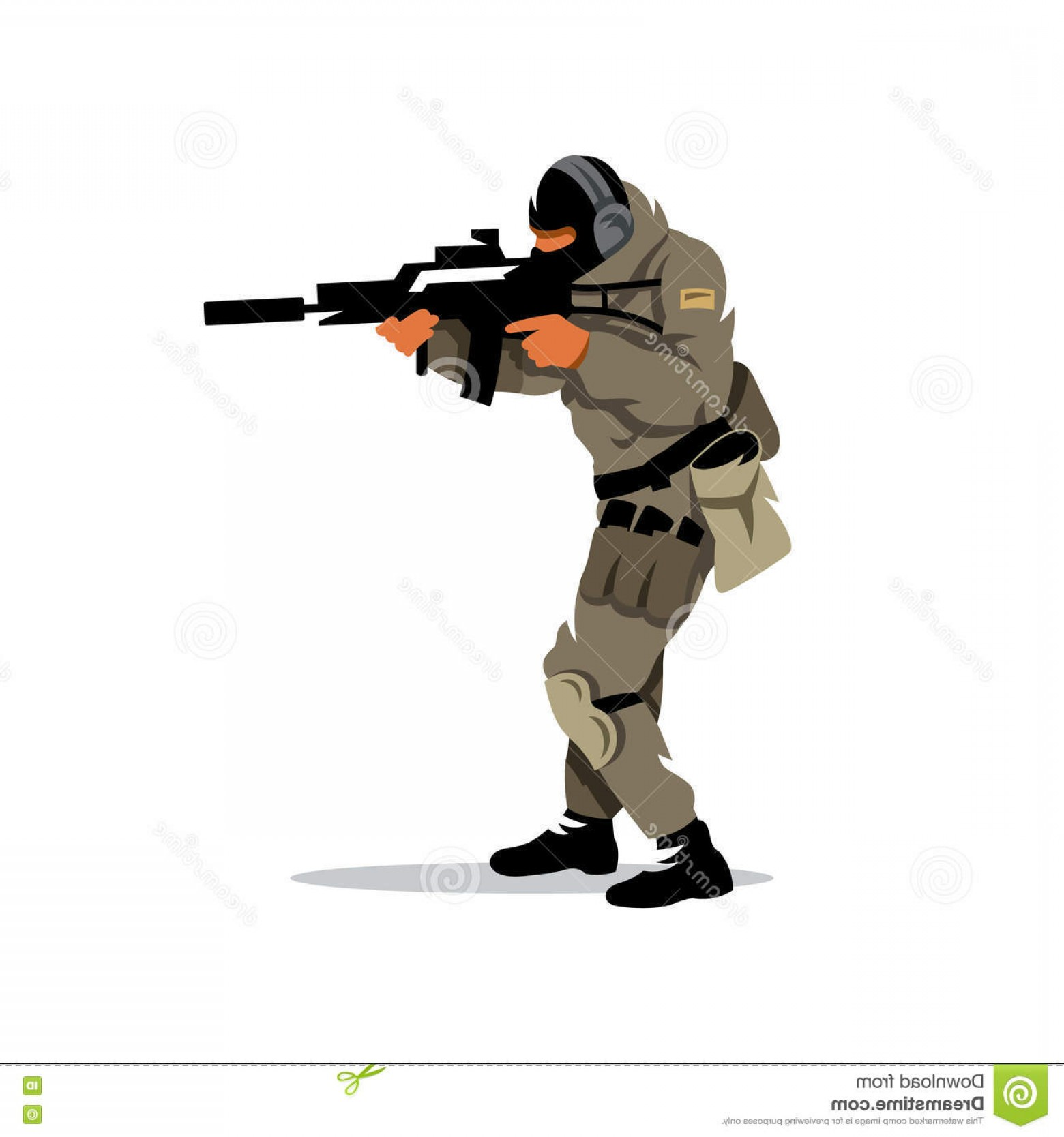 Tactical Vector: Stock Illustration Vector Tactical Shooting Warrior Cartoon Illustration Shooter Moving Gun Isolated White Background Image