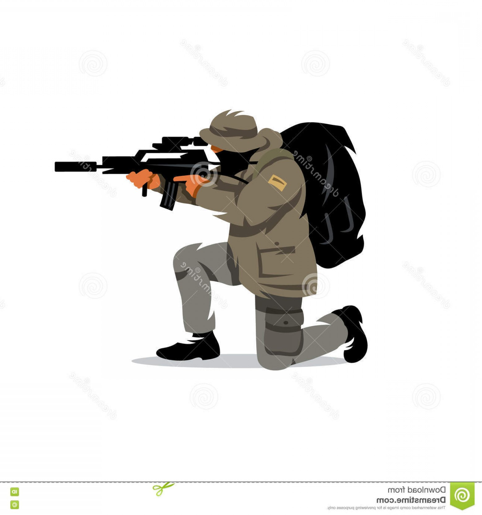 Tactical Vector: Stock Illustration Vector Tactical Shooting Warrior Cartoon Illustration Shooter Shoots Knee White Background Image