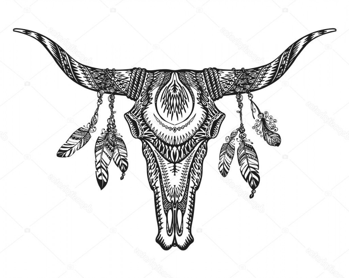 Longhorn Skull Vector: Stock Illustration Vector Tribal Animal Skull Illustration