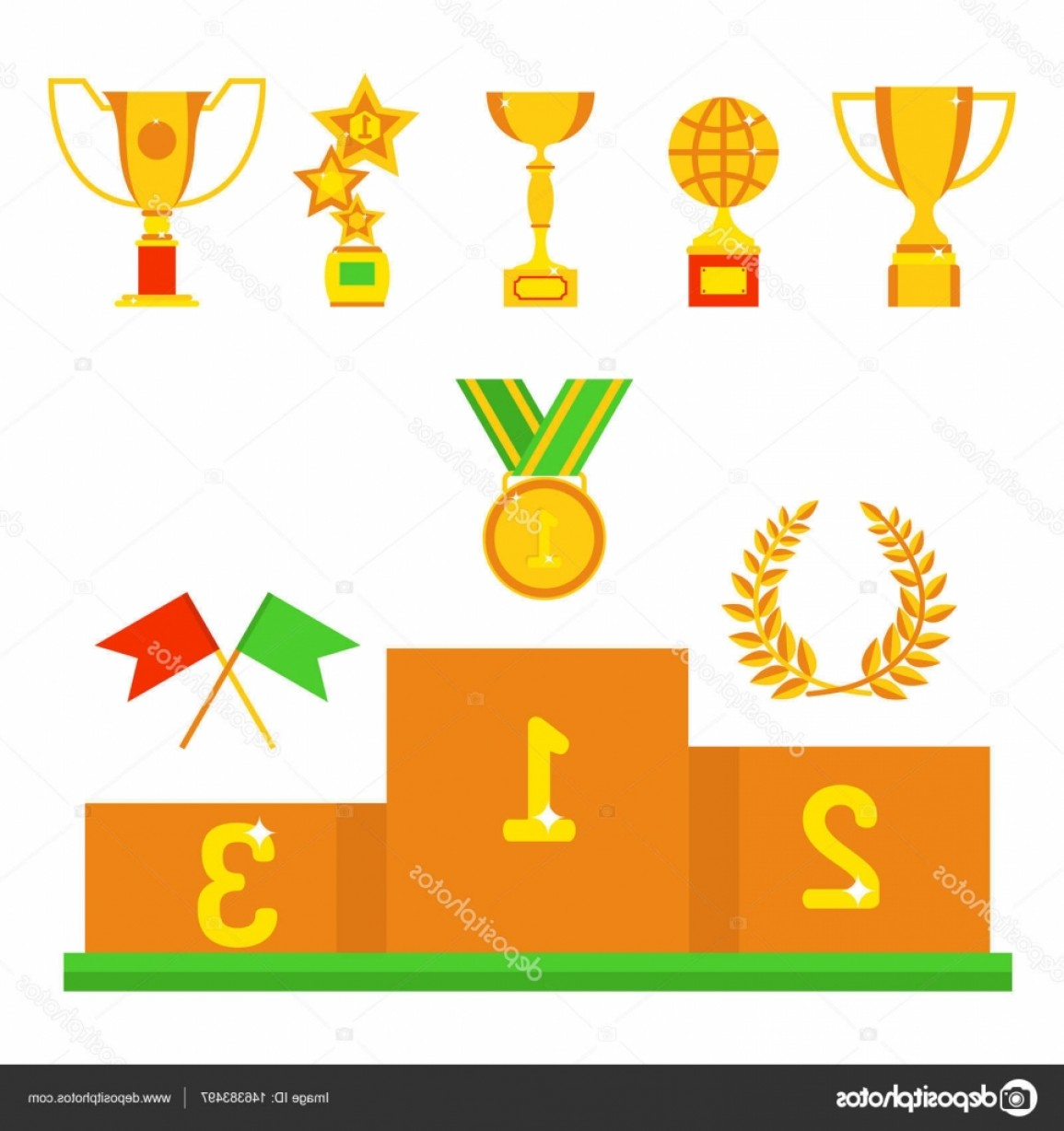 Ice Champions Cup Vector: Stock Illustration Vector Trophy Champion Cup Flat