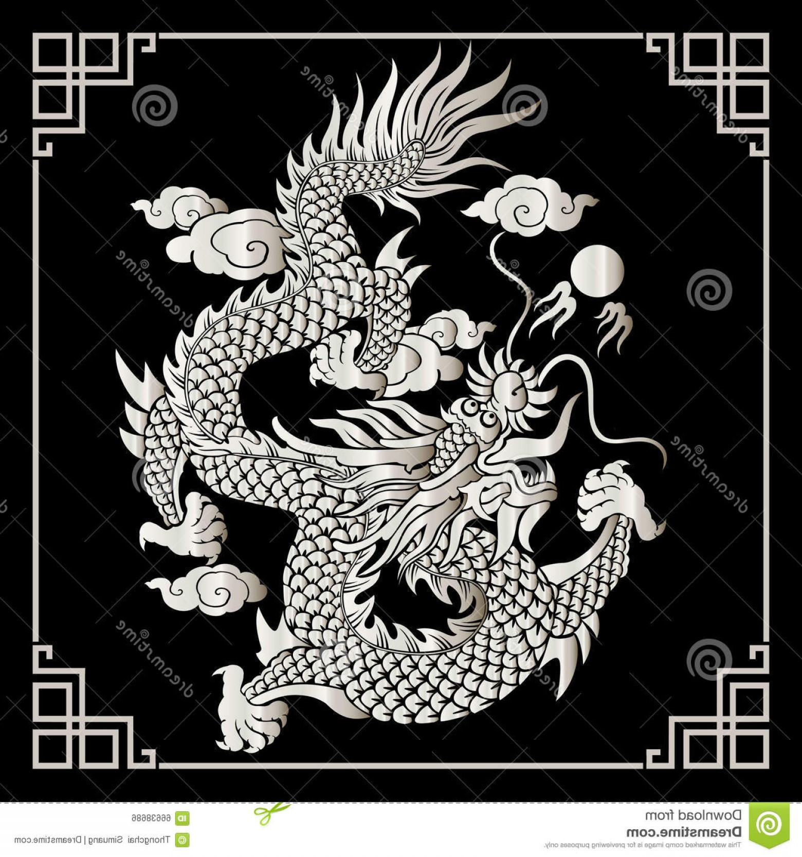 Oriental Dragon Vector: Stock Illustration Vector Vintage Chinese Dragon Engraving Retro Ornament Pattern Antique Rococo Style Decorative Design Image