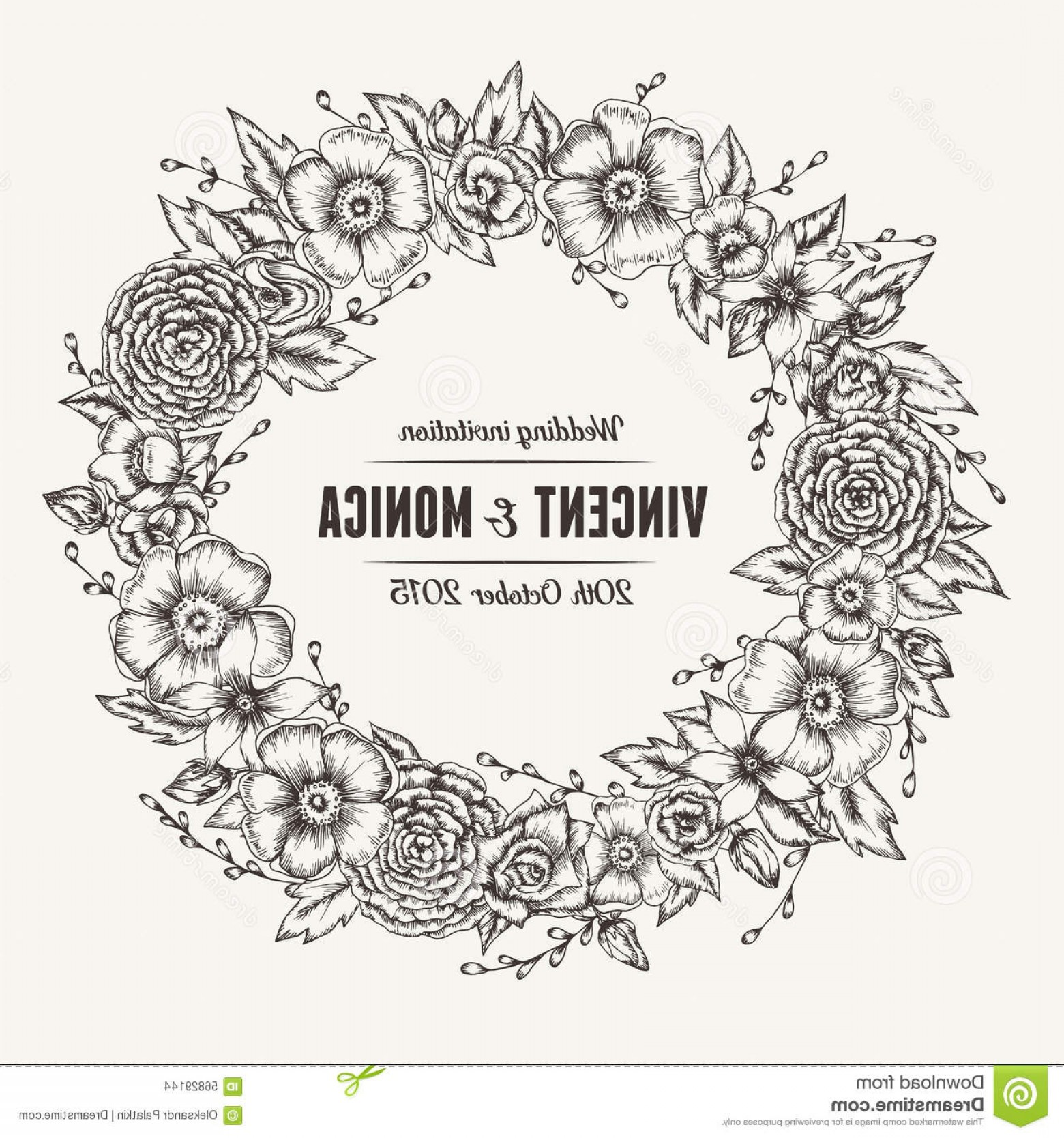 Elegant Wedding Vector Graphics: Stock Illustration Vector Vintage Floral Wedding Invitation Hand Drawn Flower Wreath Image