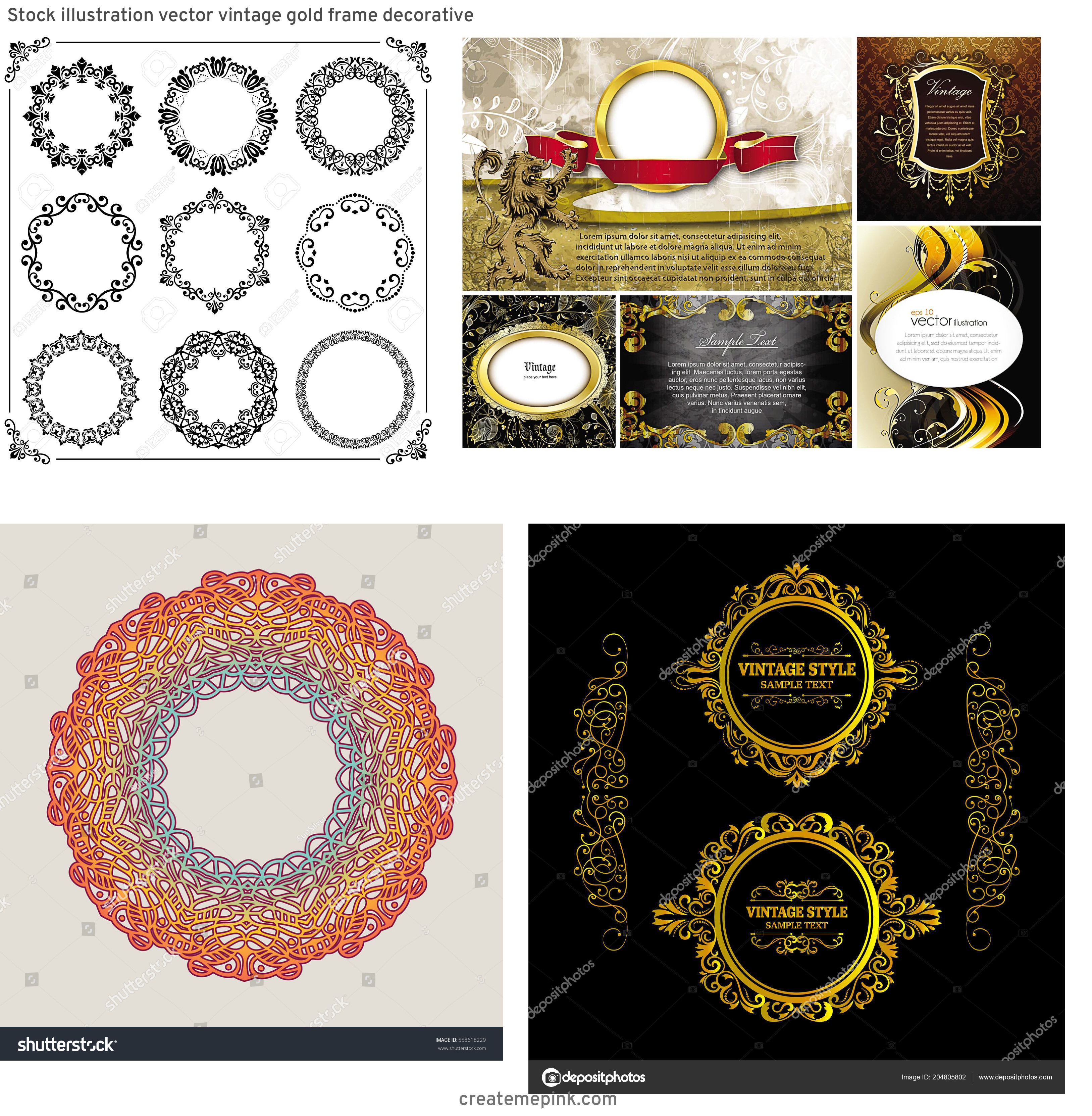Elements Of Vector Vintage Decorative Frame: Stock Illustration Vector Vintage Gold Frame Decorative