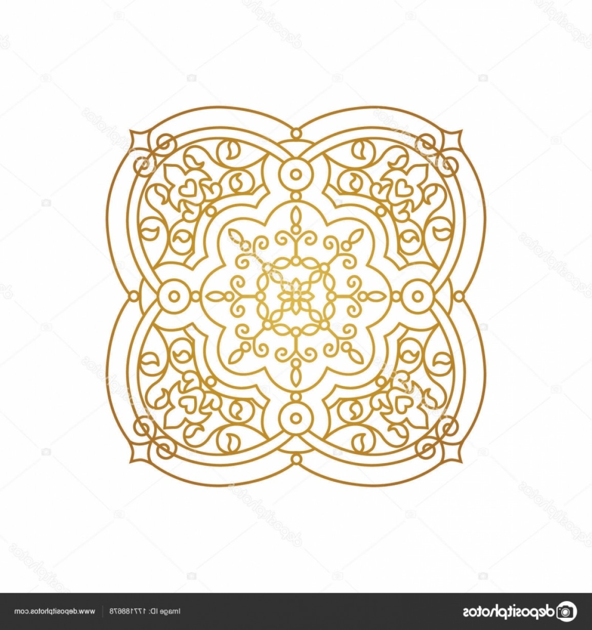 Victorian Motif Vector: Stock Illustration Vector Vintage Square Decor In