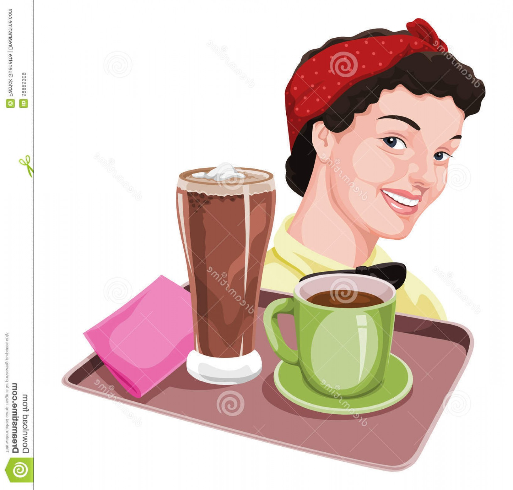Vector Waiter Coffee: Stock Illustration Vector Waitress Holding Coffee Milkshake Tray Illustration Image