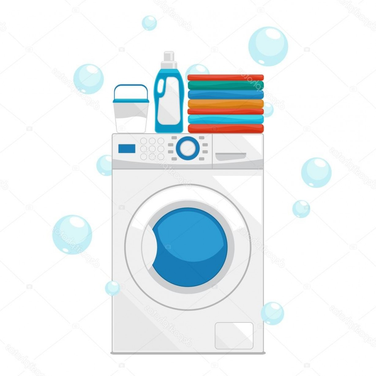 Clothes For Washing Vector: Stock Illustration Vector Washing Machine And Wash