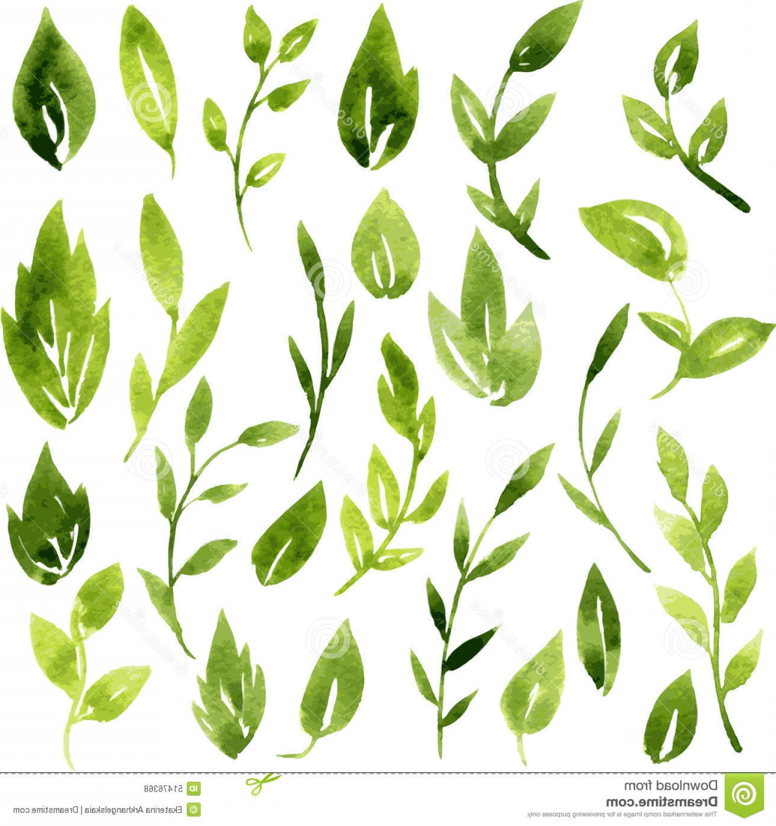 Award Vector Leaves: Stock Illustration Vector Watercolor Green Leaves Branches Set Hand Drawn Design Elements Image