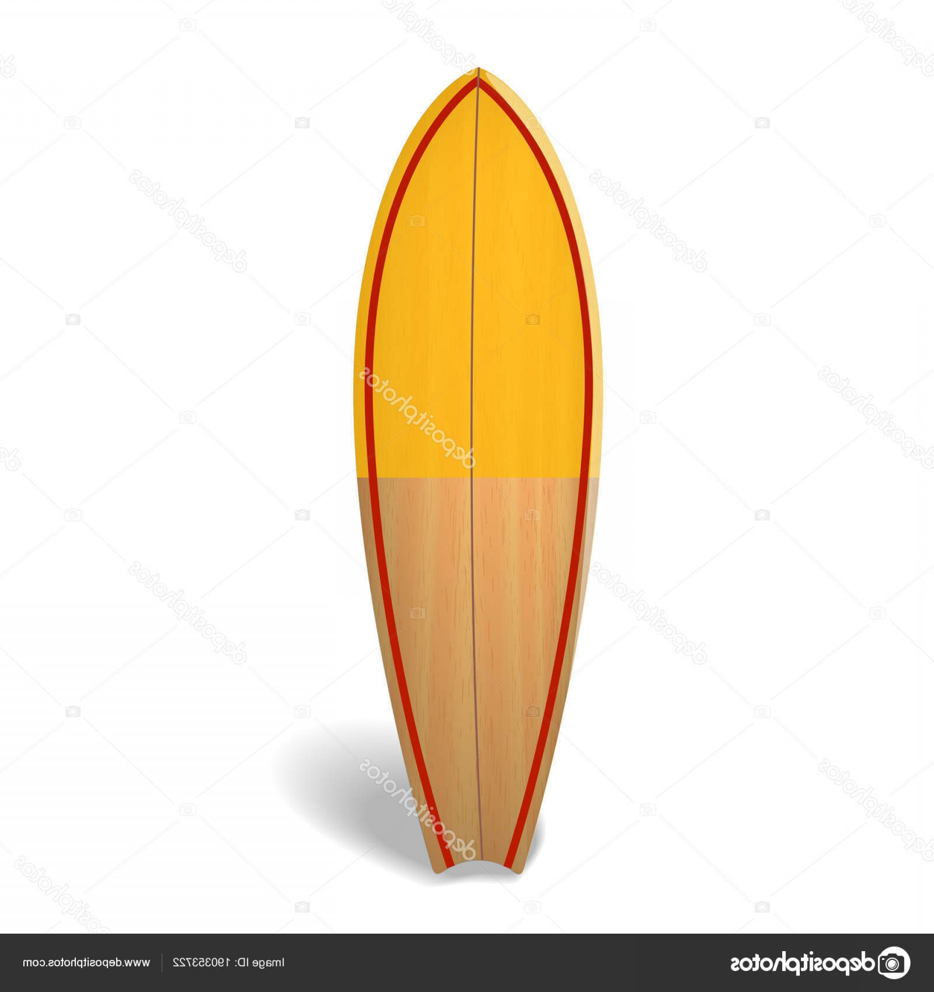 Orange Surfboard Vector: Stock Illustration Vector Wood Surf Board Summer